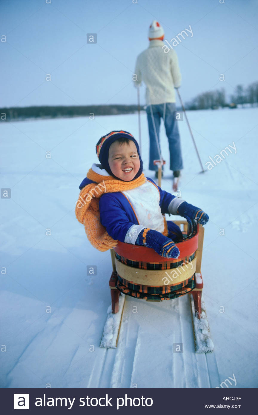 Cross country skiing and sleigh on Rice Lake Ontario CanadaStock Photo
