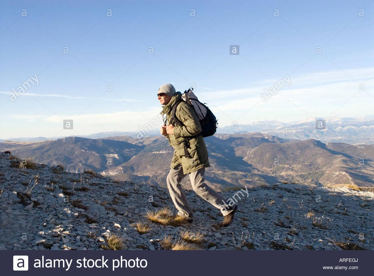 Man on a trek - Stock Image