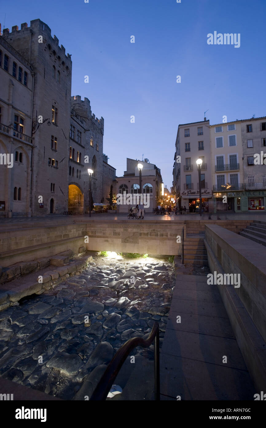 Via Domitia Place de L Hotel de Ville Narbonne France Europe Stock Photo