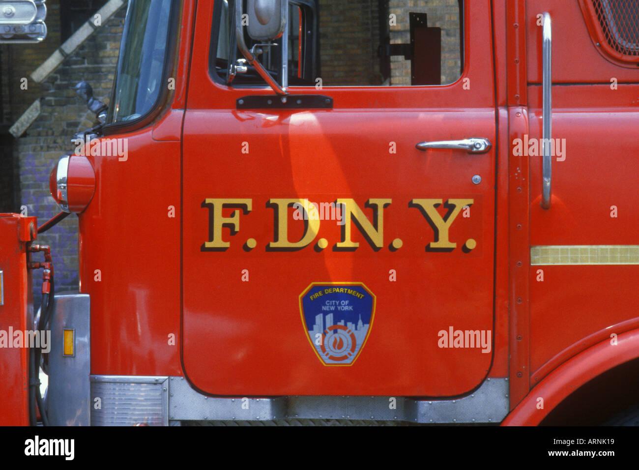 USA New York New York City NYC Fire Engine Detail FDNY - Stock Image