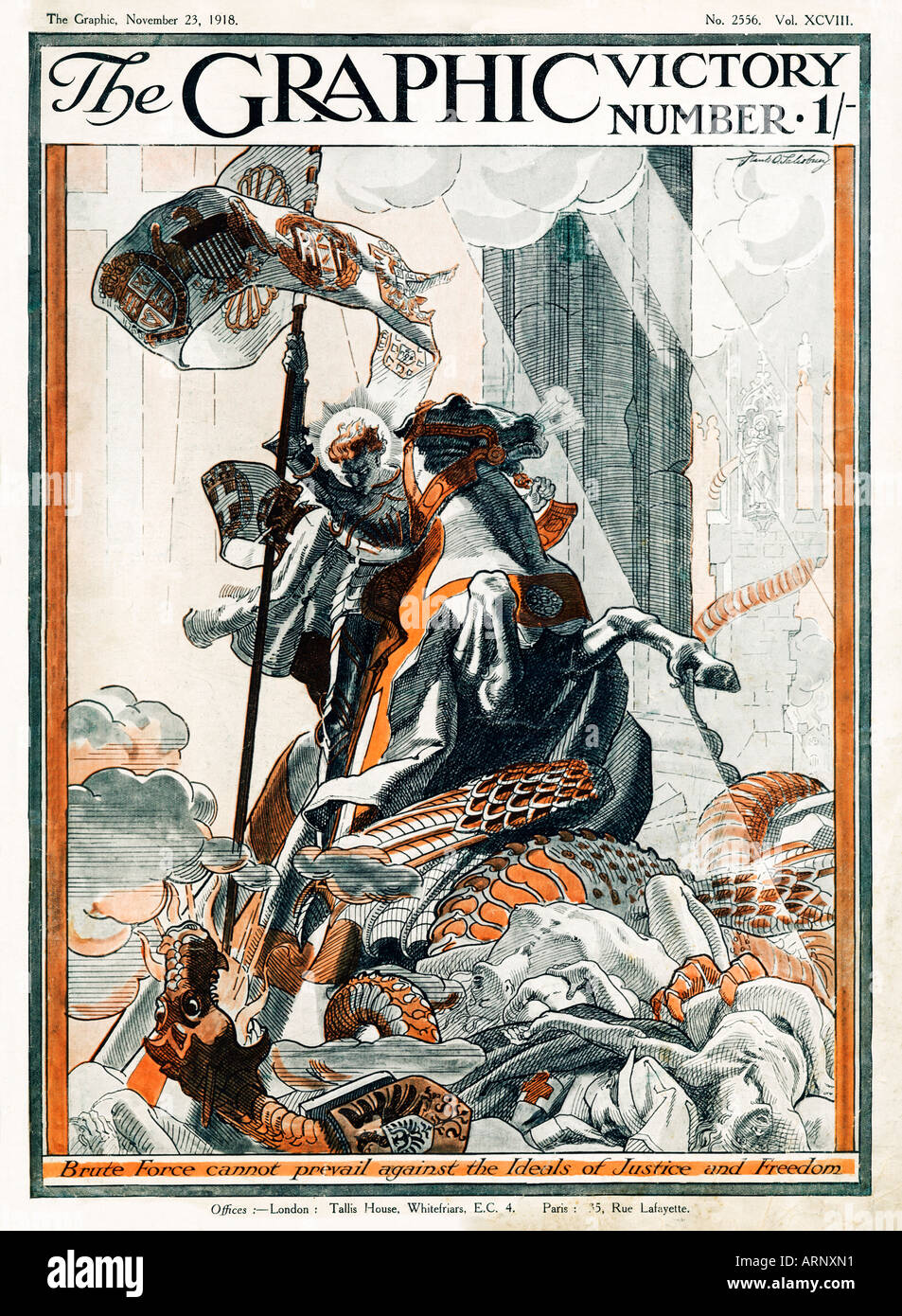 Graphic Victory Number 1918 the Allied St George slays the German Dragon in this Armistice English magazine cover - Stock Image