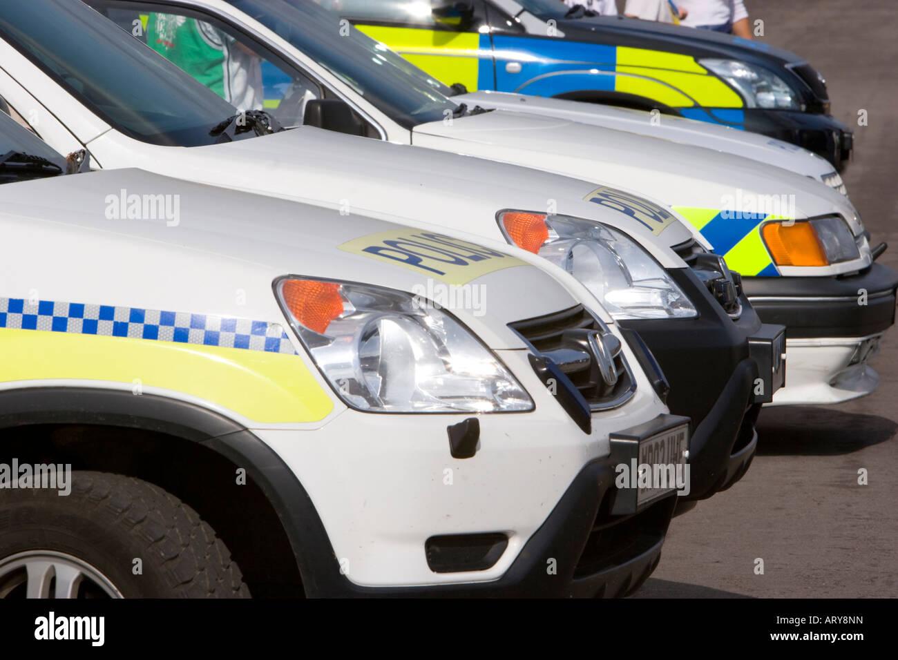Police vehicle line up - Stock Image