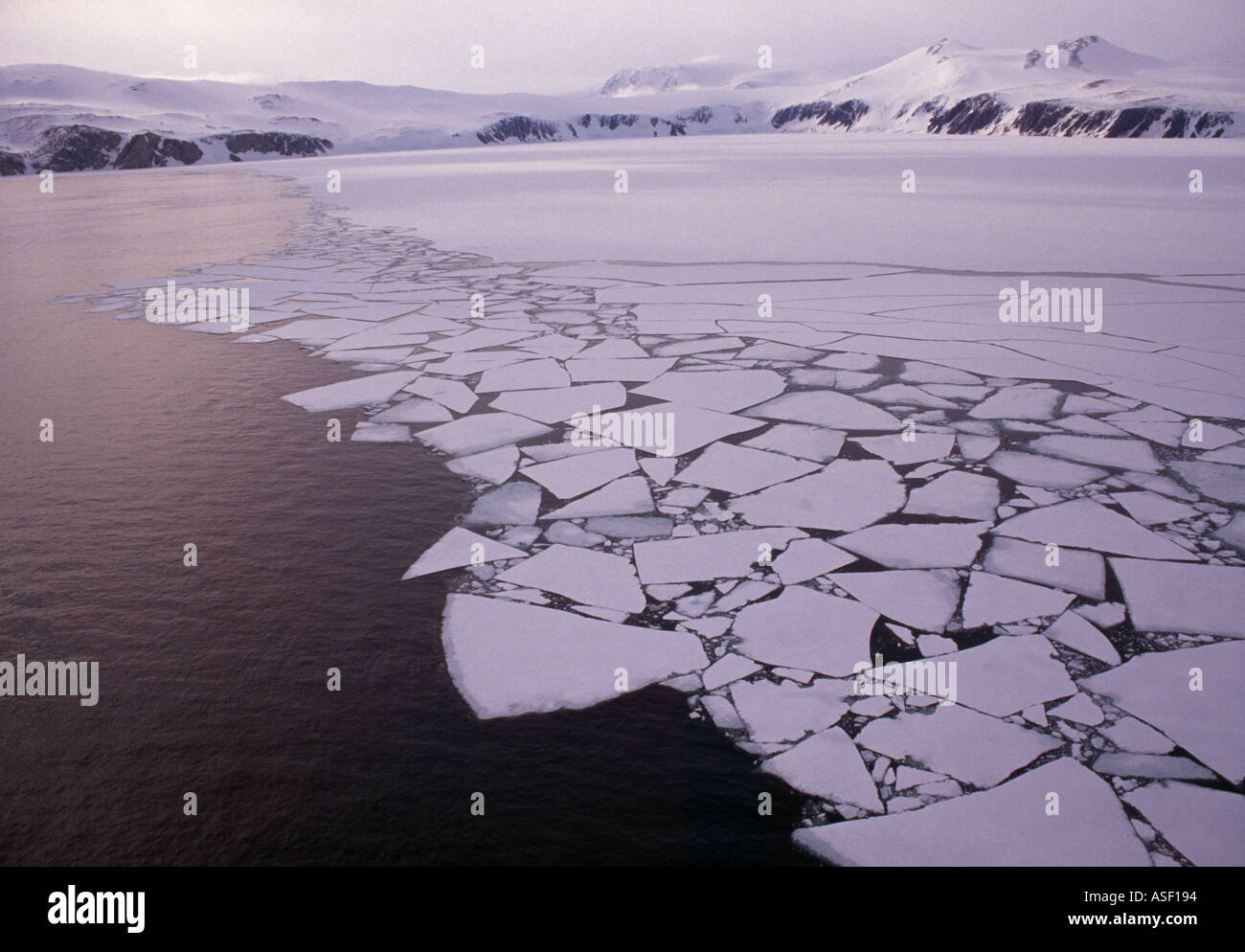 Summer breakup of fast sea ice Terra Nova Bay Ross Sea Antarctica Aerial - Stock Image