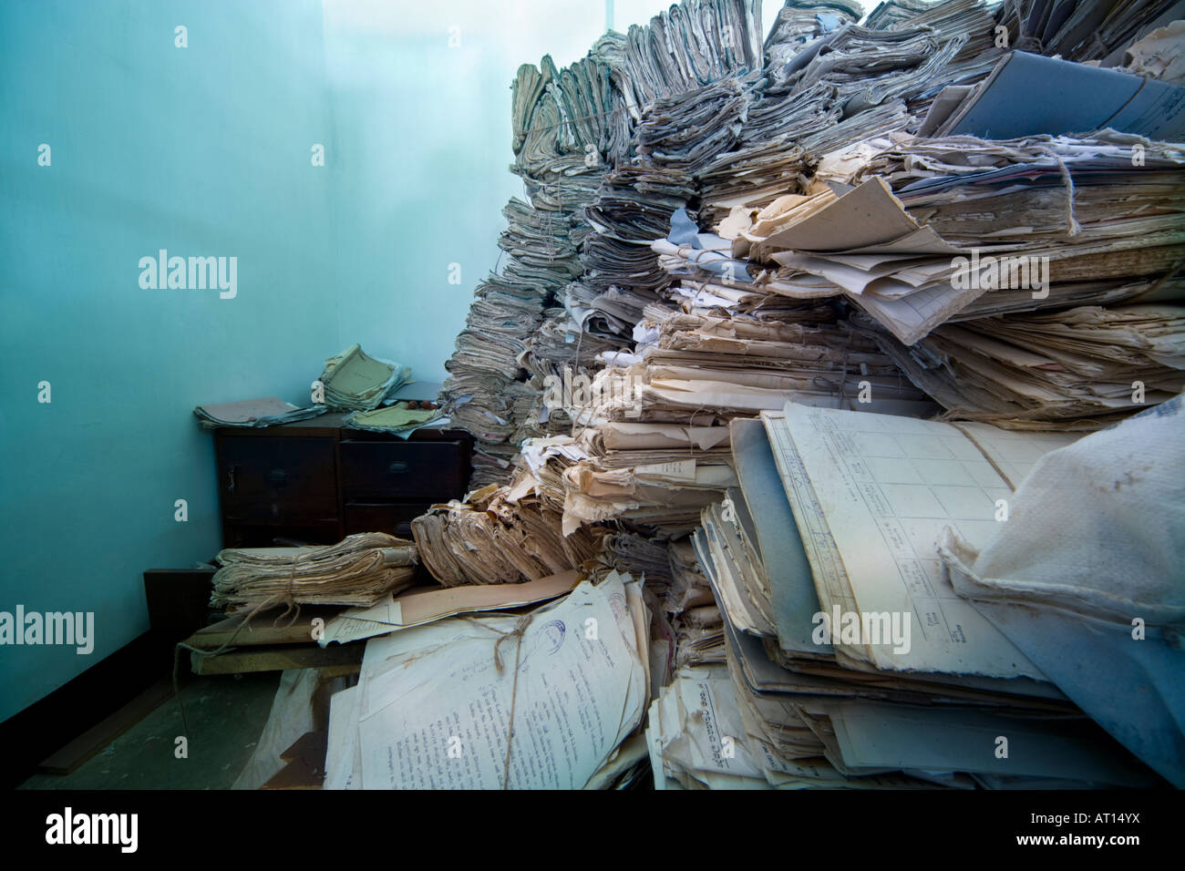 Piles of court files, paperwork, in an archive in Sri Lanka. - Stock Image