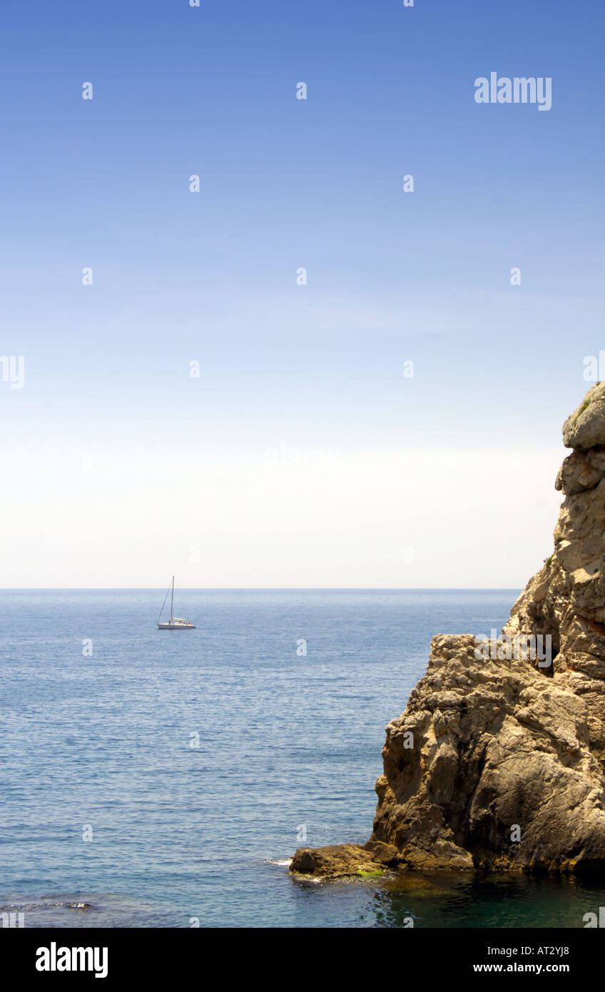 Sailing Boat in the Adriatic Sea - Stock Image