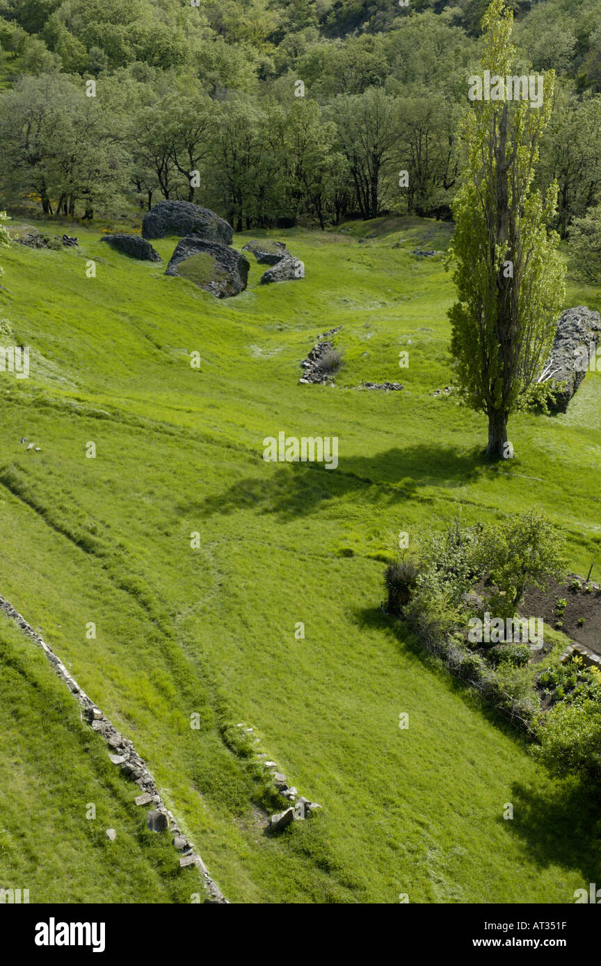 grass field from above. France Ardeche Mirabel Village Above A Grass Field And Forest At Spring Grass Field From Above