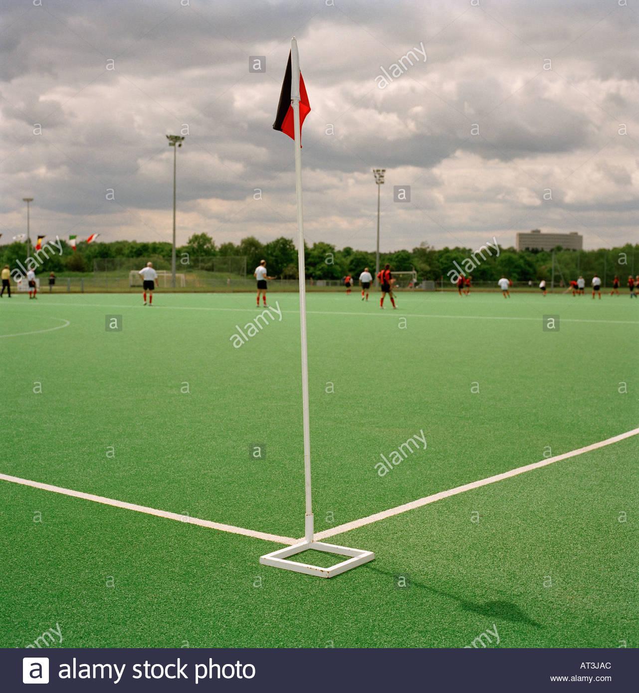 Corner flag in field hockey - Stock Image