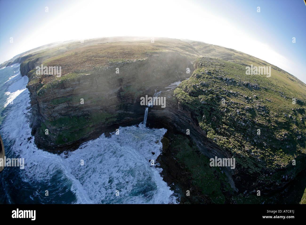 aerial view of sandstone coastline of Wild Coast Transkei Southeast Africa Indian Ocean Mozambique - Stock Image
