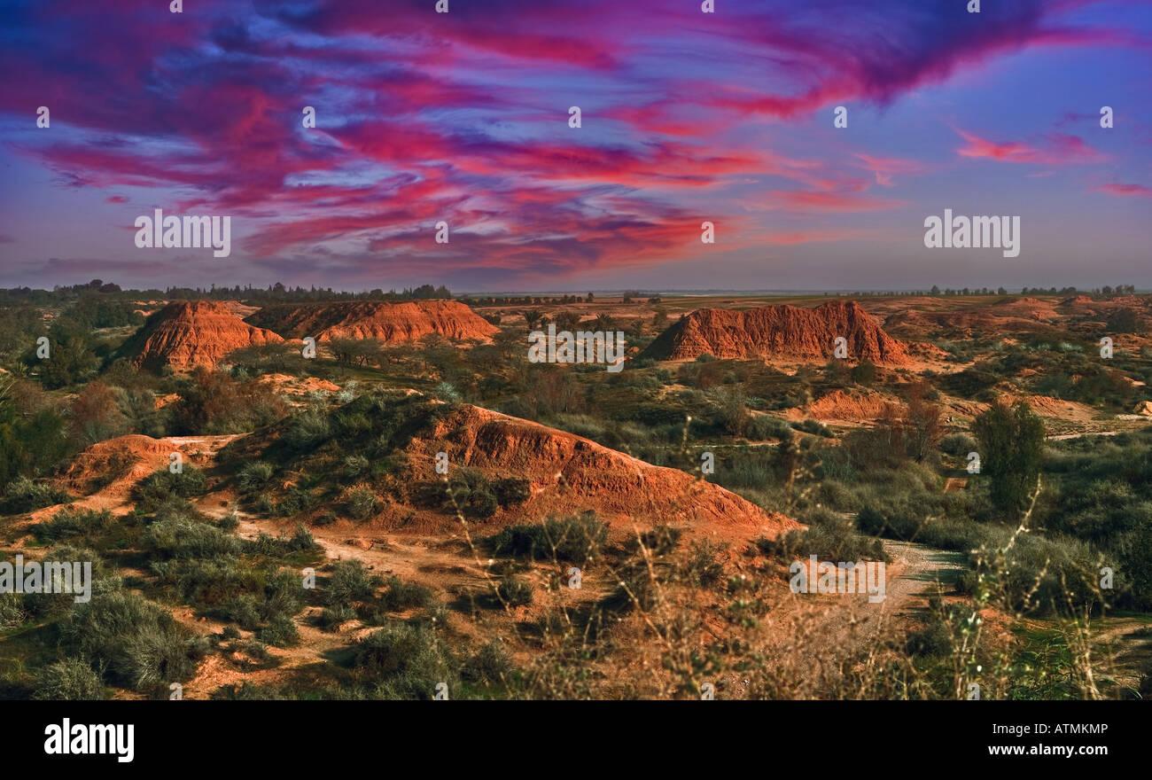 Sunset in desert - Stock Image