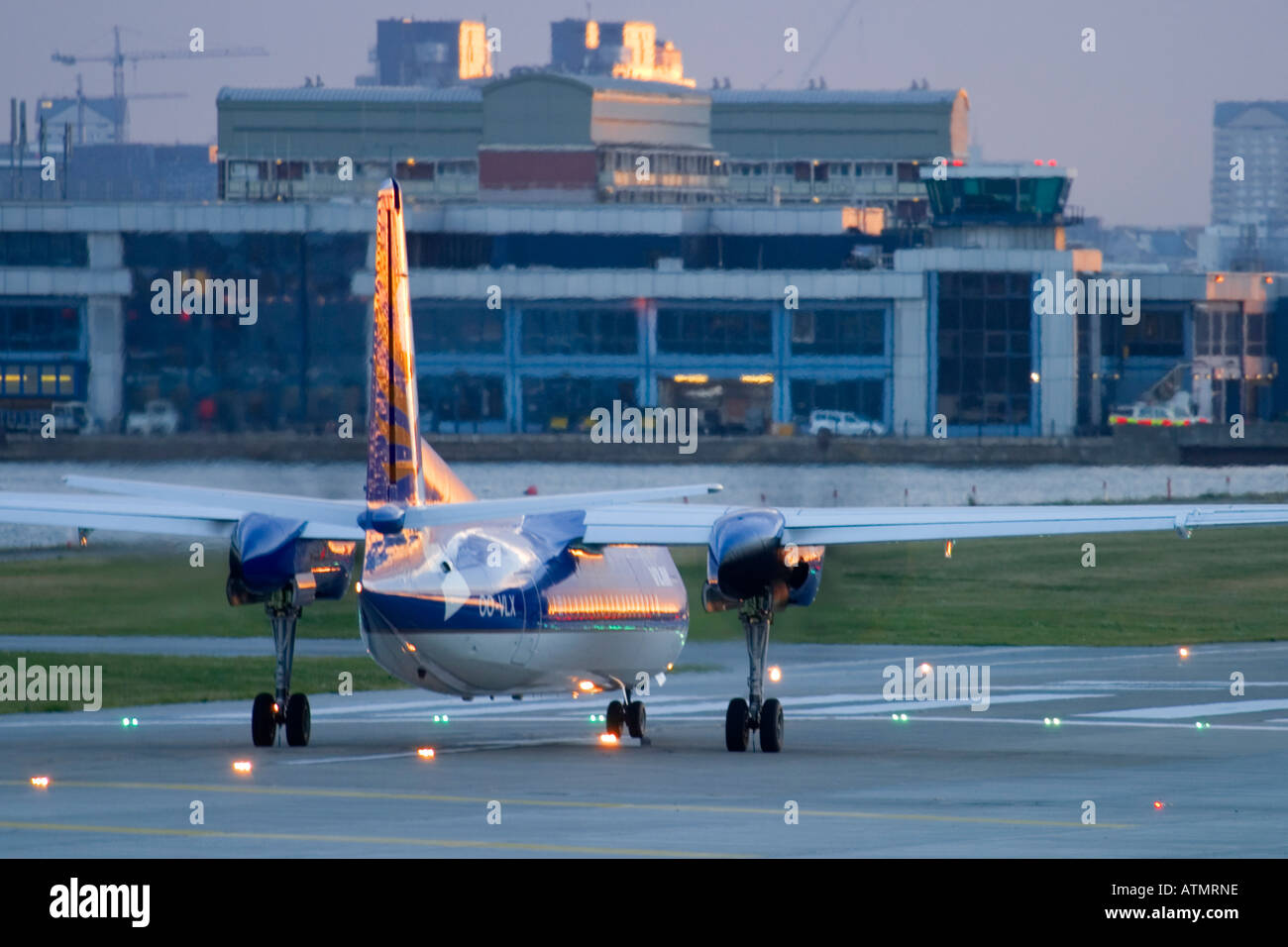 VLM Airlines Fokker 50 at London City Airport, UK - Stock Image