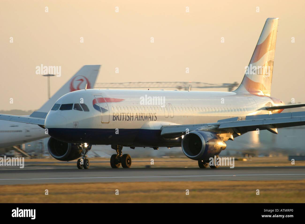 British Airways Airbus A320-111 at London Heathrow Airport - Stock Image