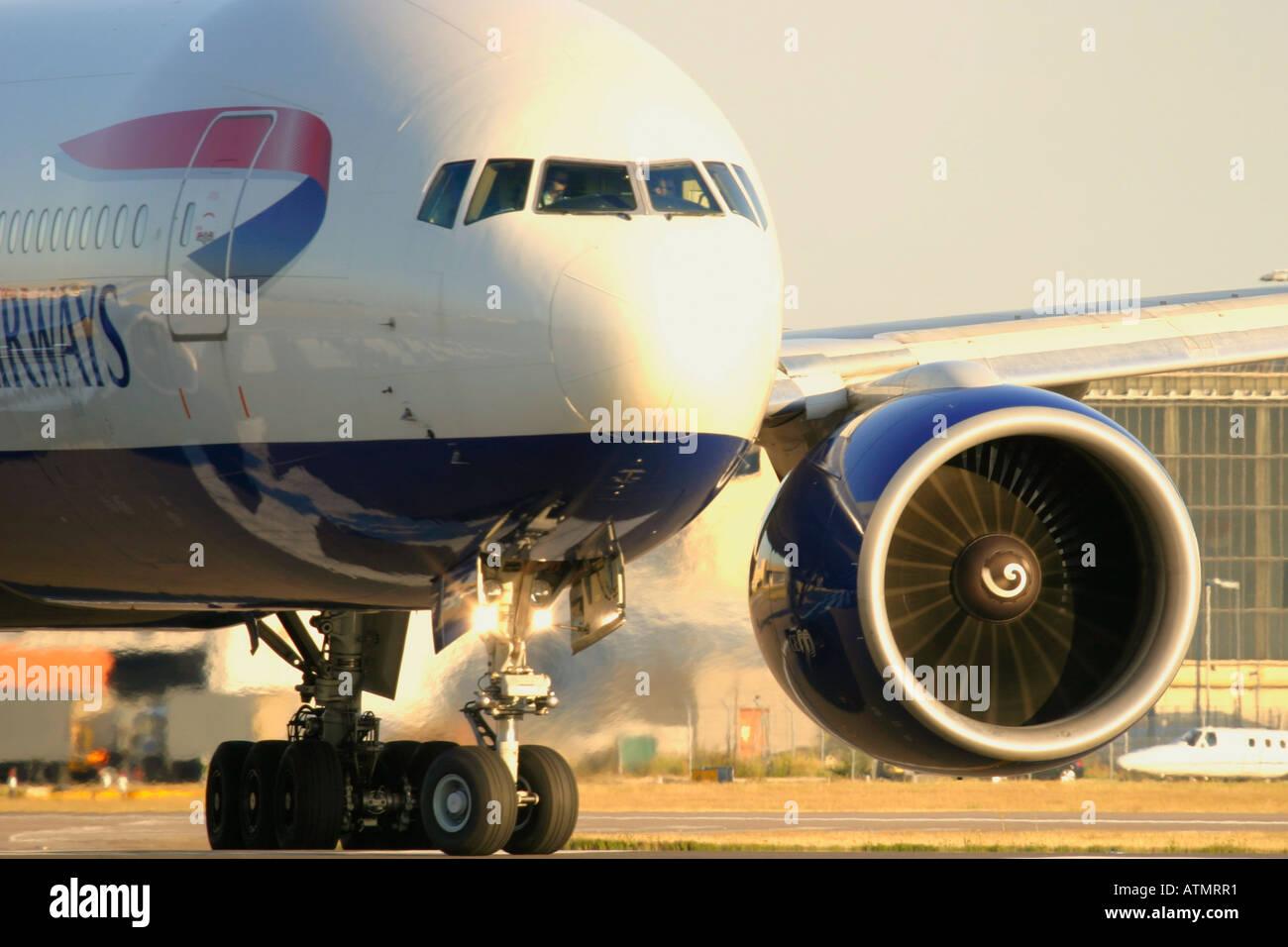Close-up of British Airways Boeing 777-236/ER at London Heathrow Airport - Stock Image