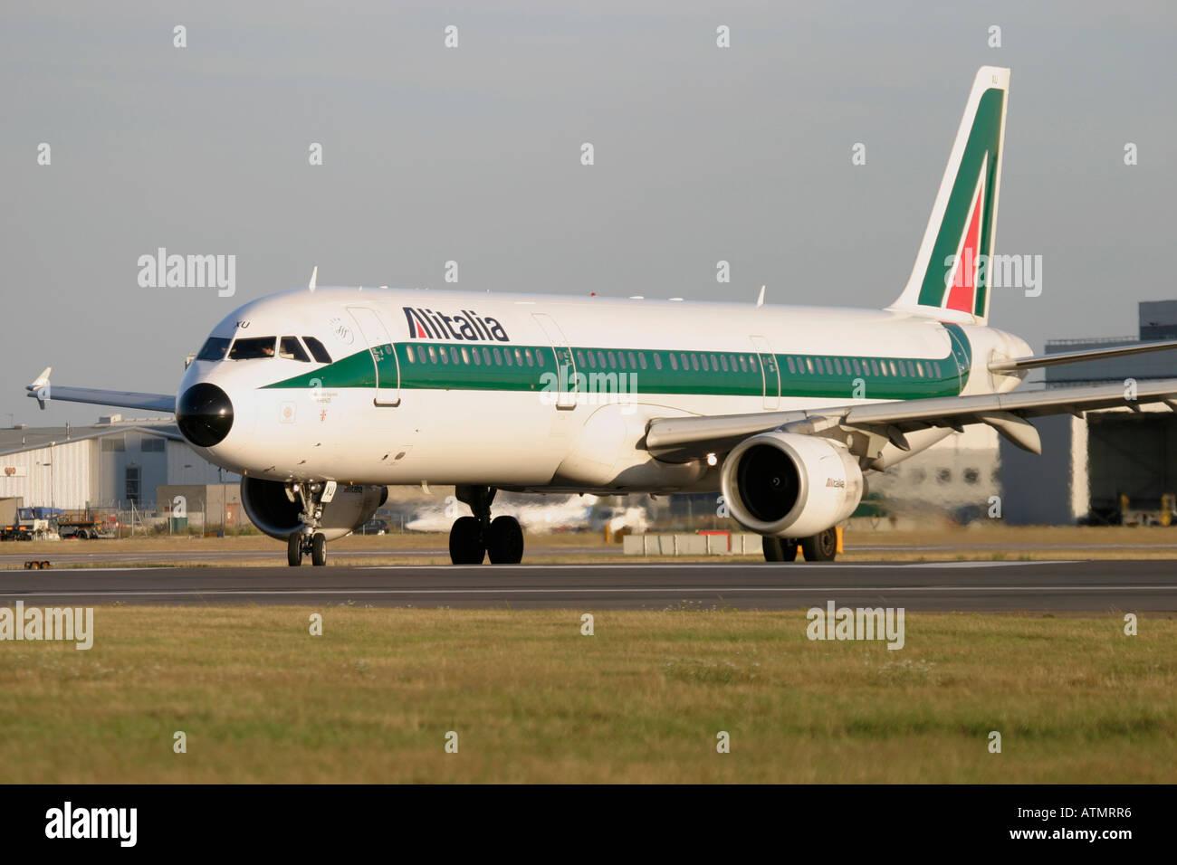 Alitalia Airbus A321-112 at London Heathrow Airport - Stock Image