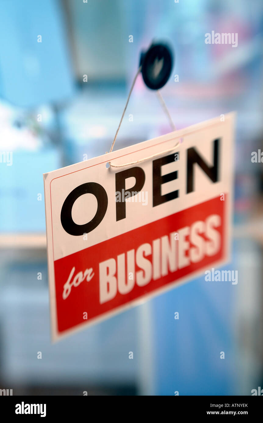 Open for business sign - Stock Image