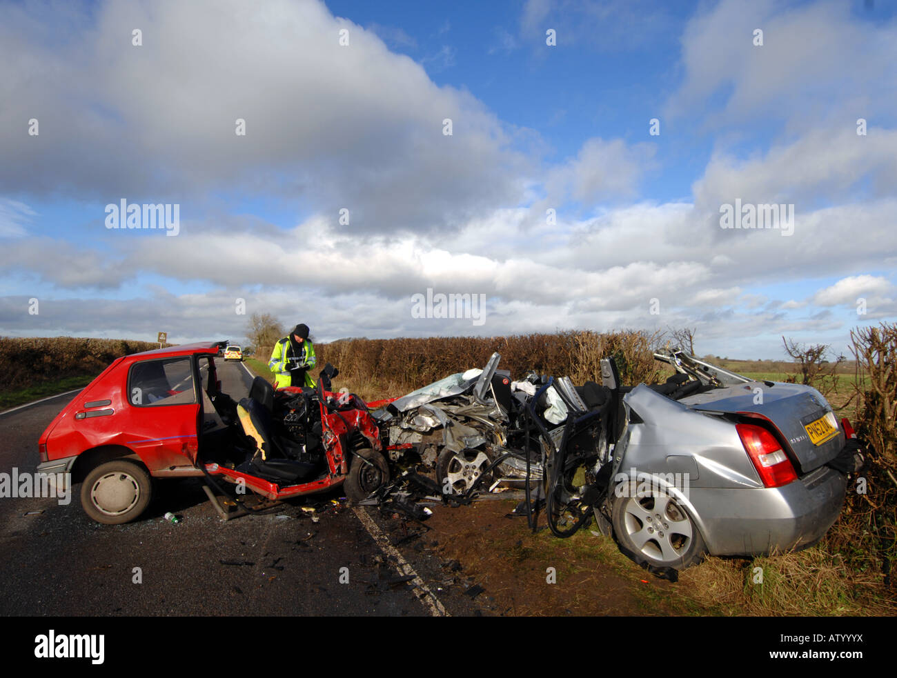 Police at the scene of a fatal head on car crash that killed 4 ...