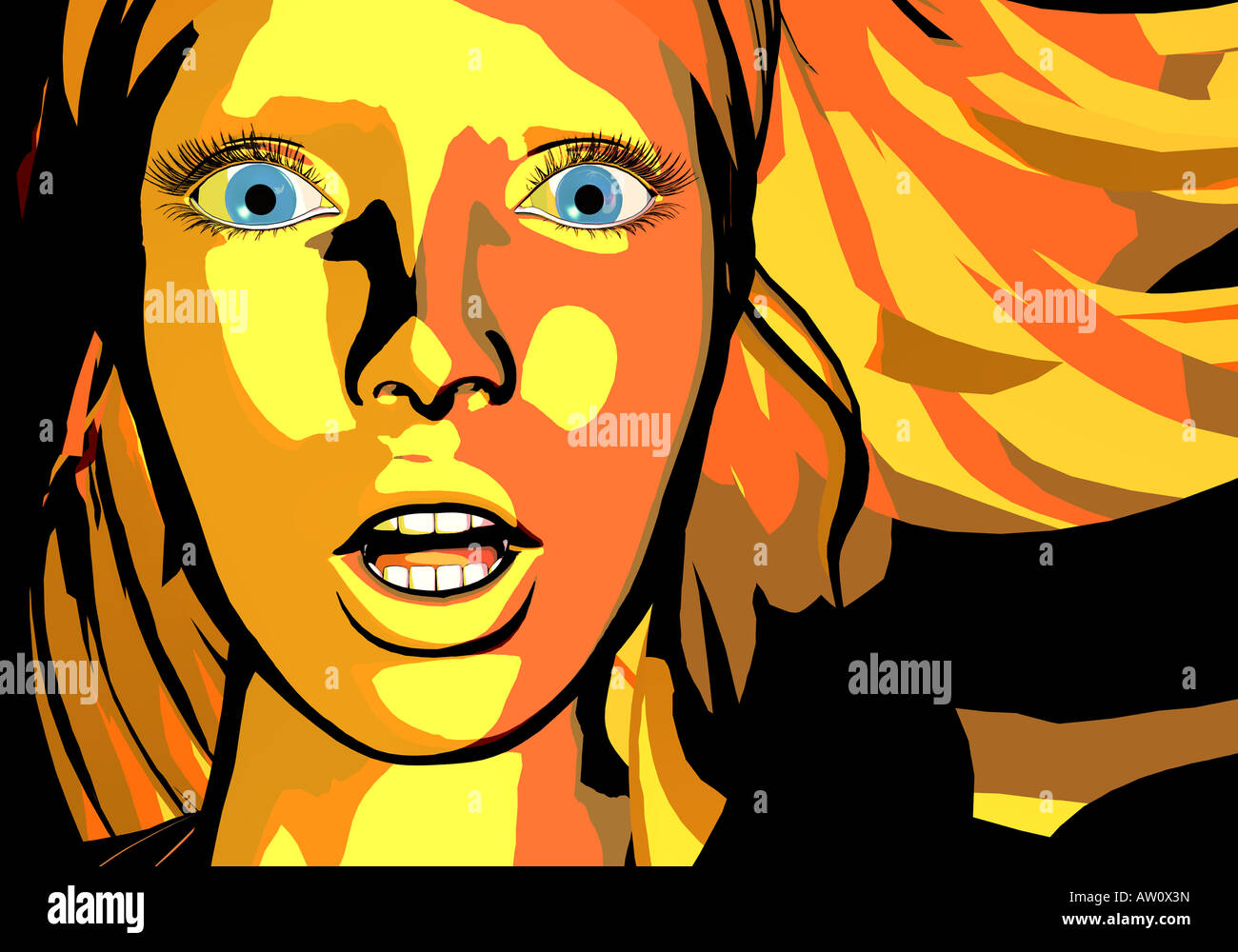 Illustration of a woman, close up Stock Photo