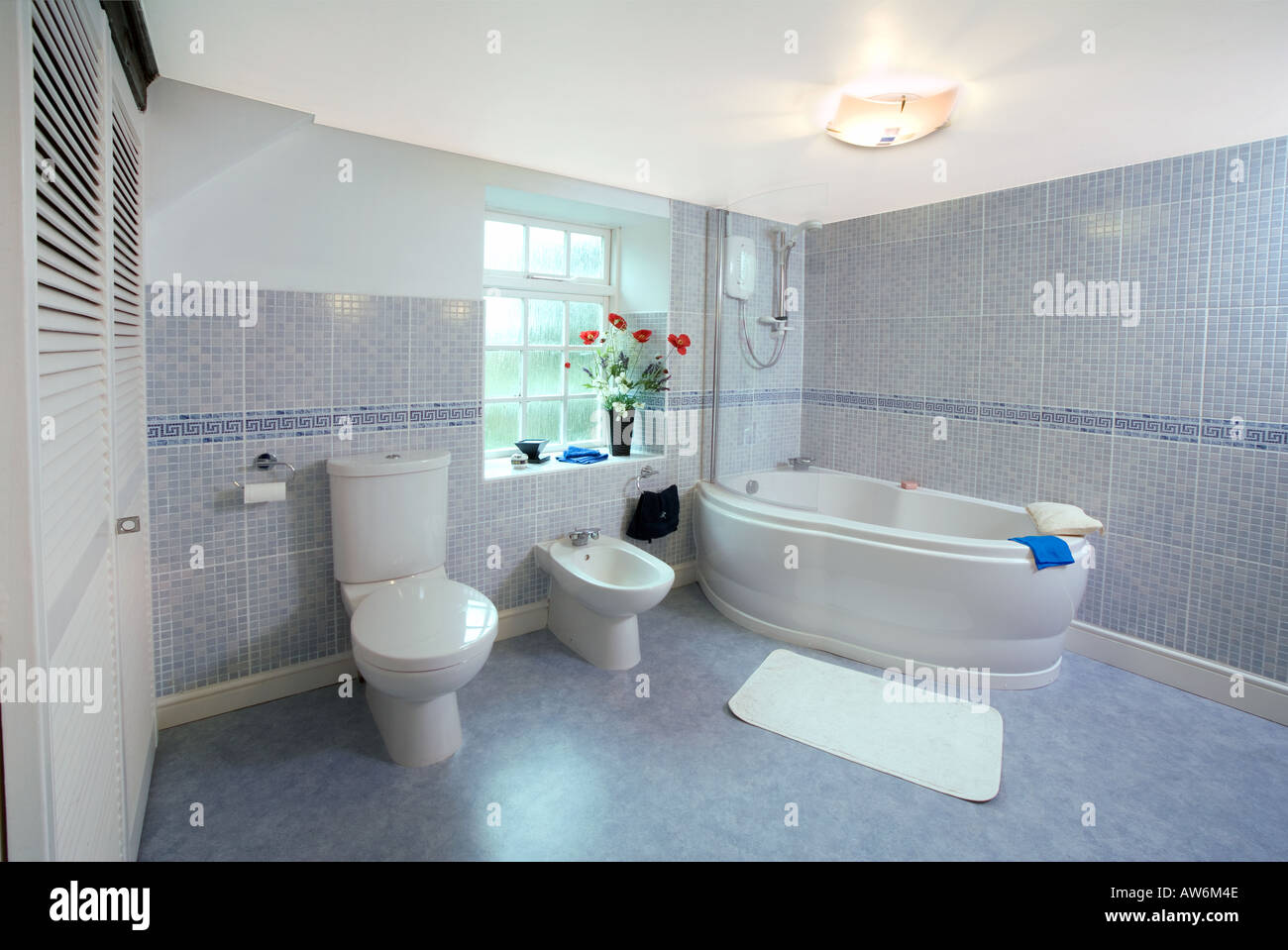 MODERN TILED BATHROOM UK WITH BATH BIDET AND TOILET Stock Photo ...