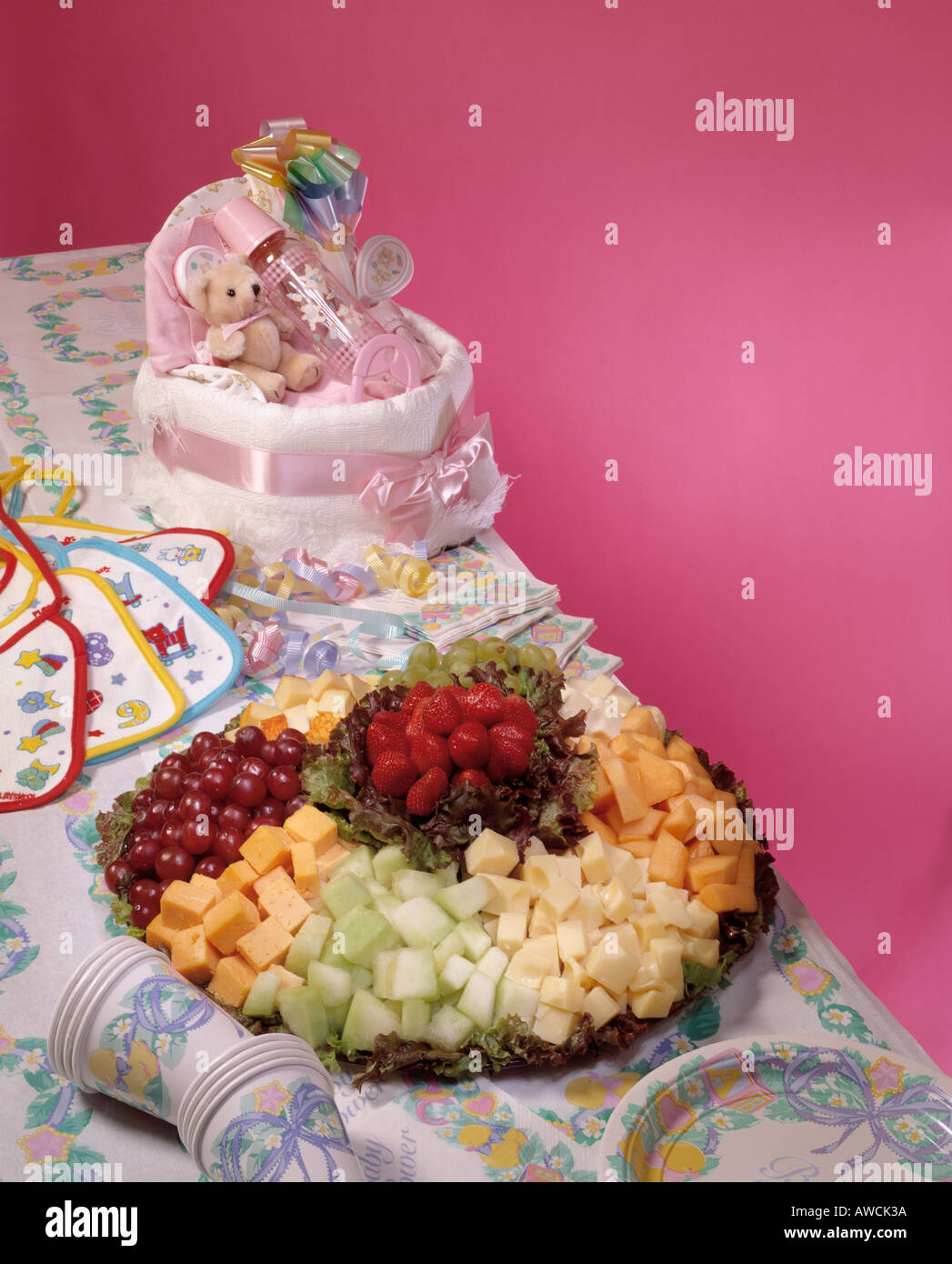Baby Shower Party Food Assortment Gifts Cheese Fresh Fruit Platter