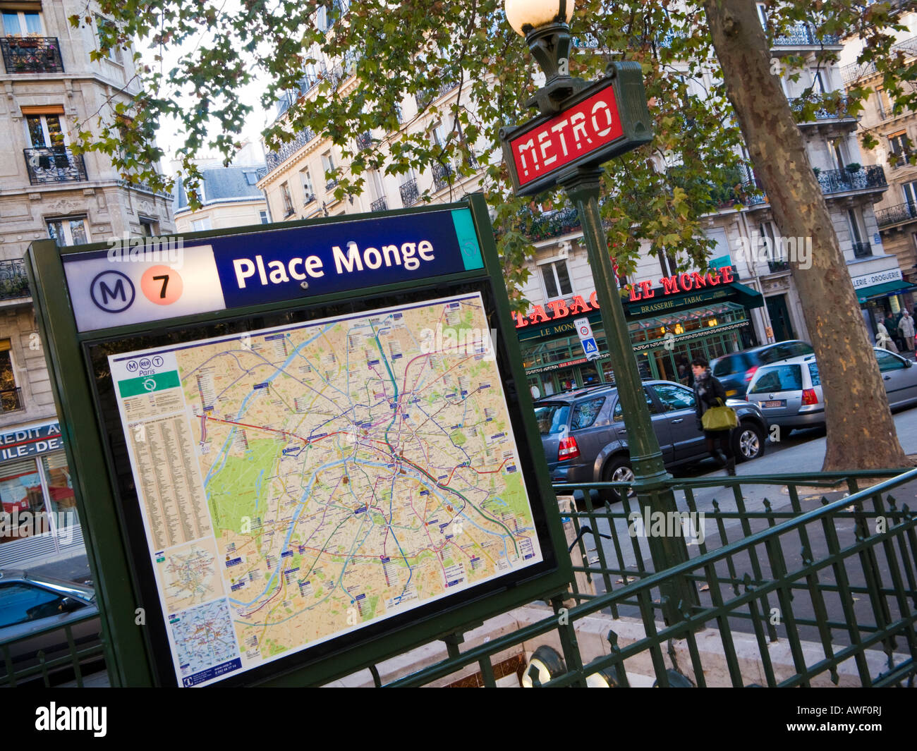 Entrance To Place Monge Paris Metro Station With Sign And Map Stock - Paris metro station map