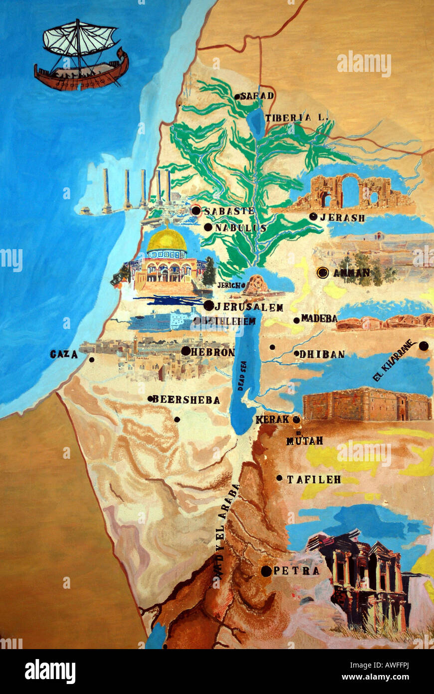 Map of Palestine, wall painting in the Archaeological Museum, Jebel ...