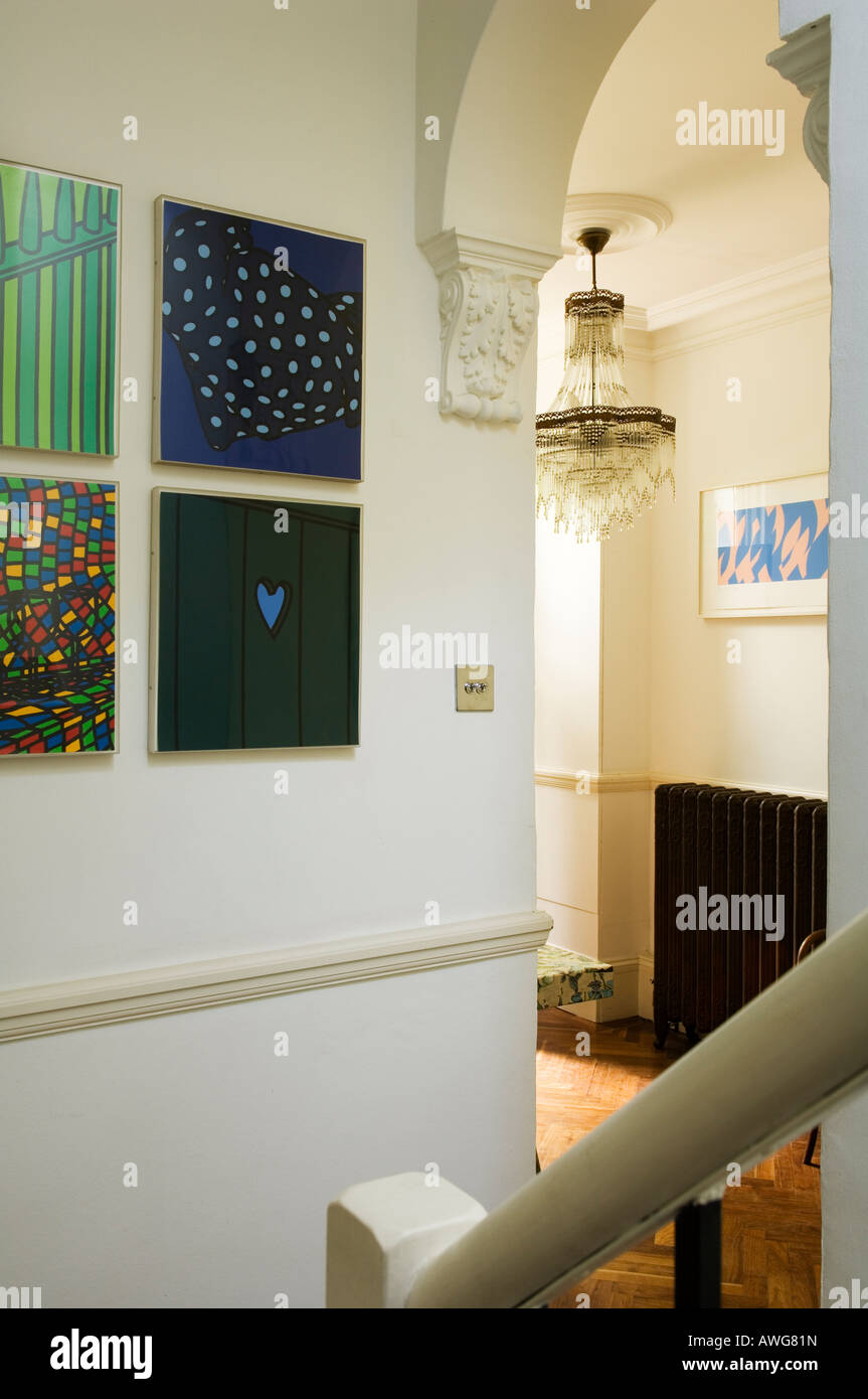 entrance lobby of the home of a well known London chef in a London townhouse - Stock Image