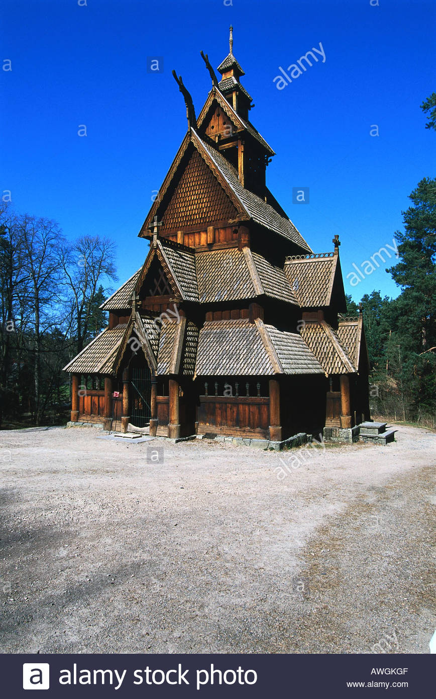 Norway, Bygdoy, Norsk Folkemuseum, façade of medieval 13th-century Gol stave church in grounds of open-air - Stock Image