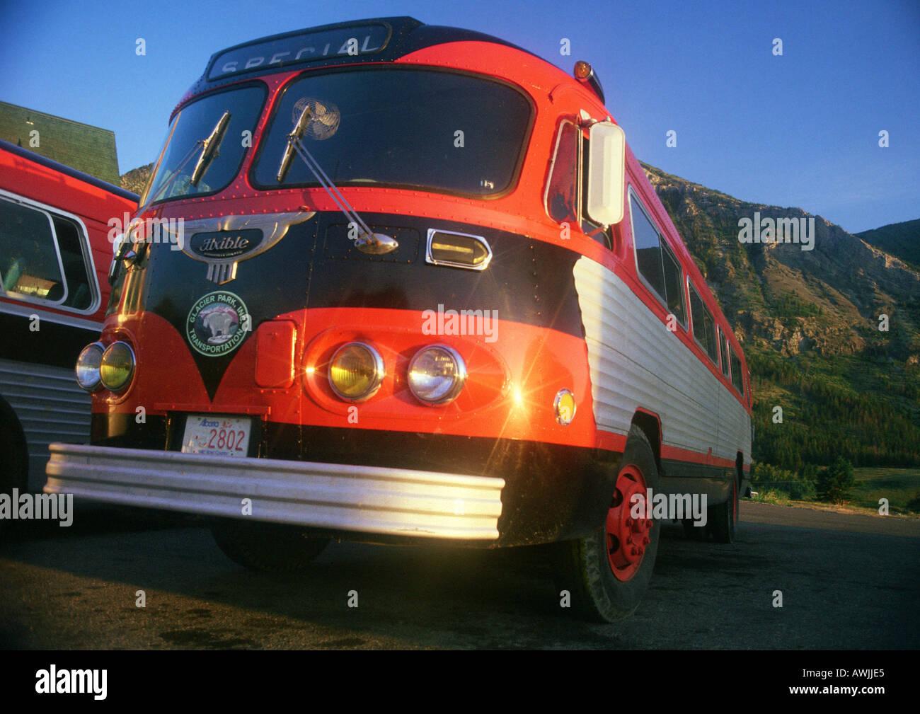 Tour buses, Glacier National Park, Montana, United States - Stock Image