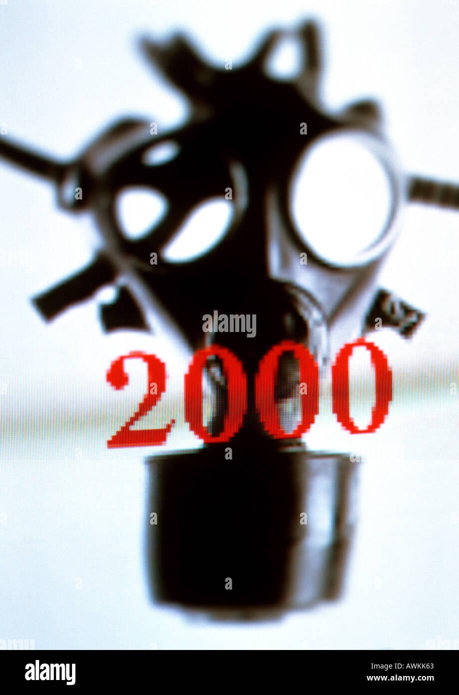 2000 text, gasmask - Stock Image