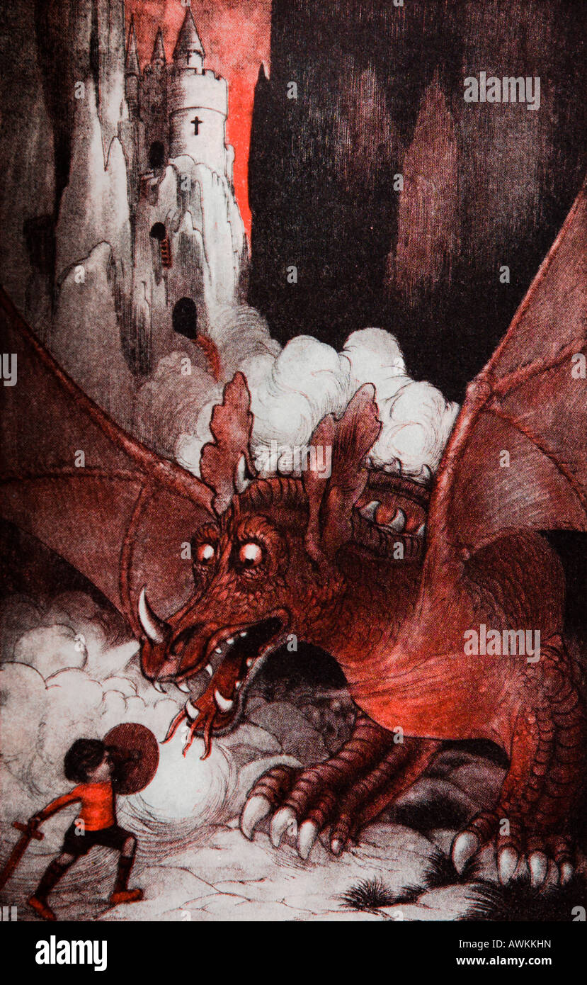 George and the Dragon Illustration - Stock Image