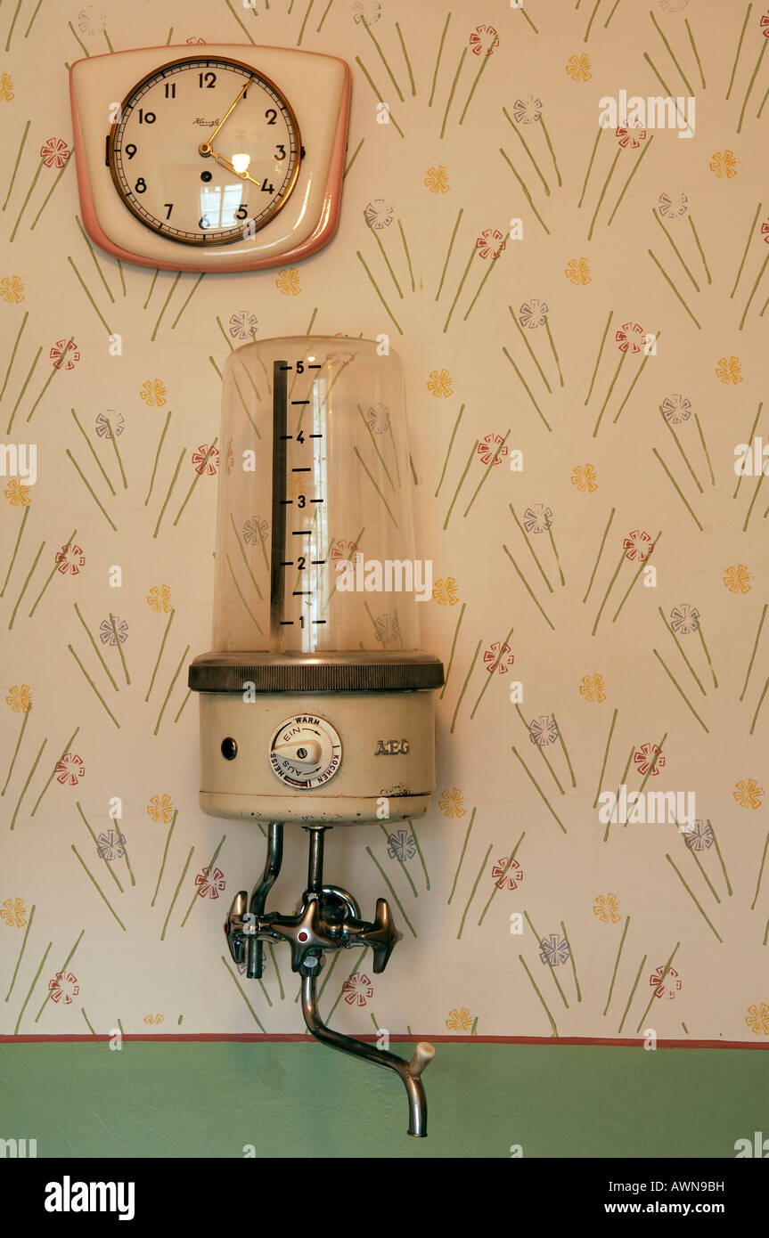 1950s kitchen clock and water boiler mounted on wall, Lauf an der ...