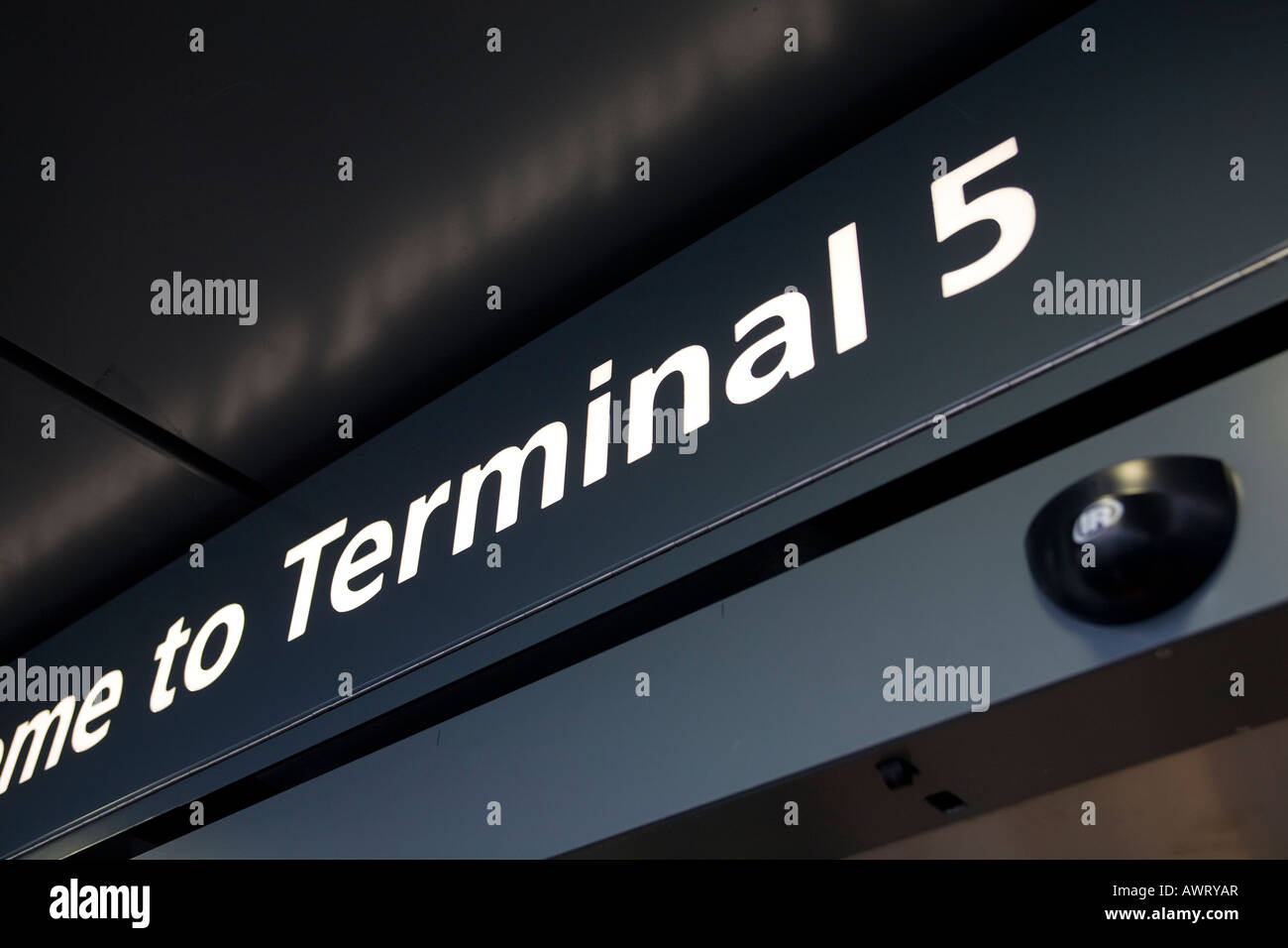 Welcome sign to London Heathrow Airport Terminal 5 - Stock Image