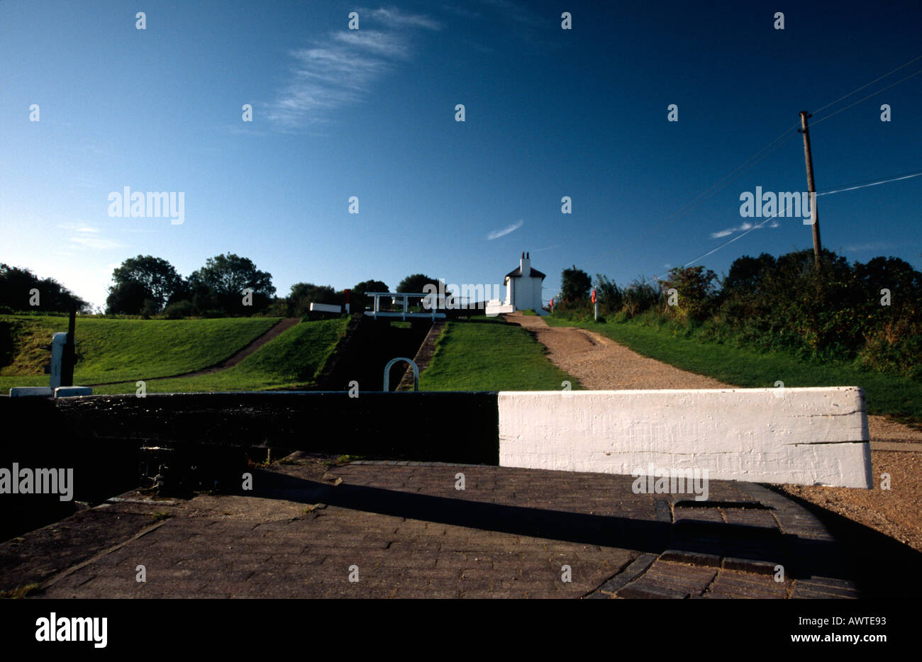 Foxton locks on the Grand Union Junction Canal - Stock Image