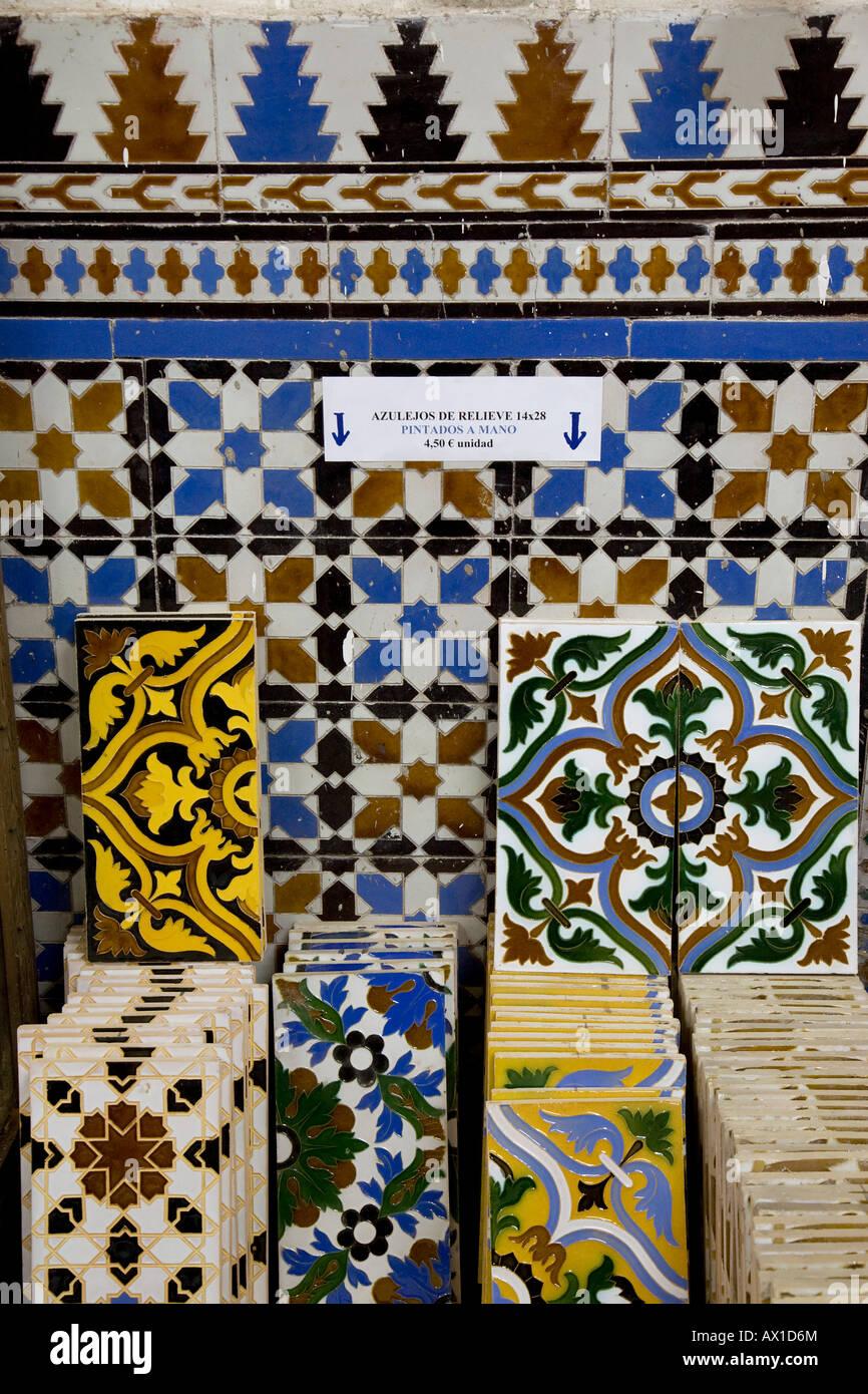 Ceramic tiles for sale in ceramics shop \