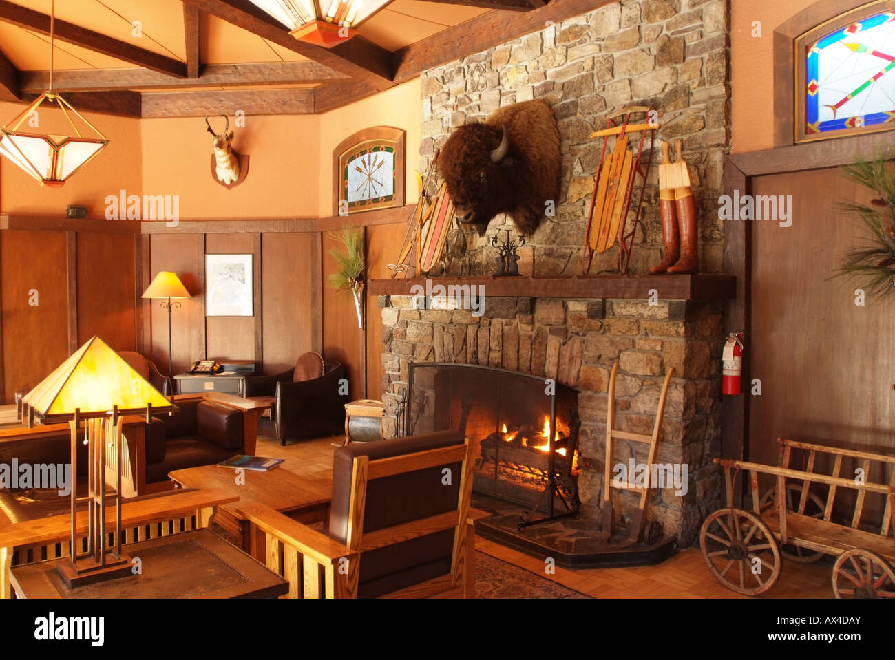 CANADA Alberta Banff Banff National Park Lake Louise Deer Lodge interior lounge sitting area Stock Photo