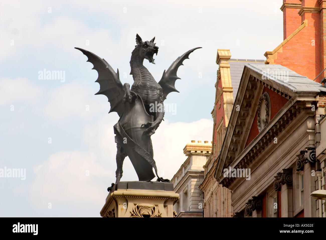 bronze Dragon statue  London uk - Stock Image