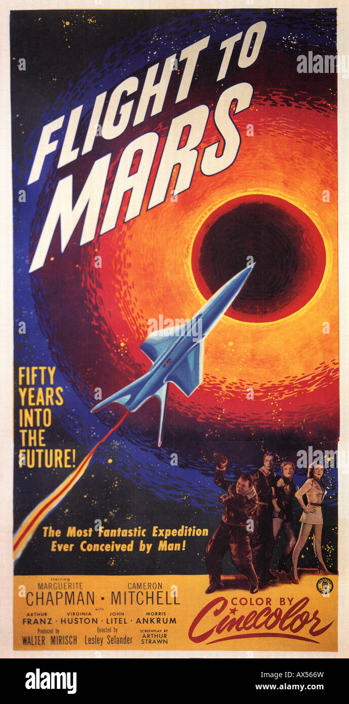 FLIGHT TO MARS poster for 1951 Monogram film which pioneered a whole cinema genre Stock Photo