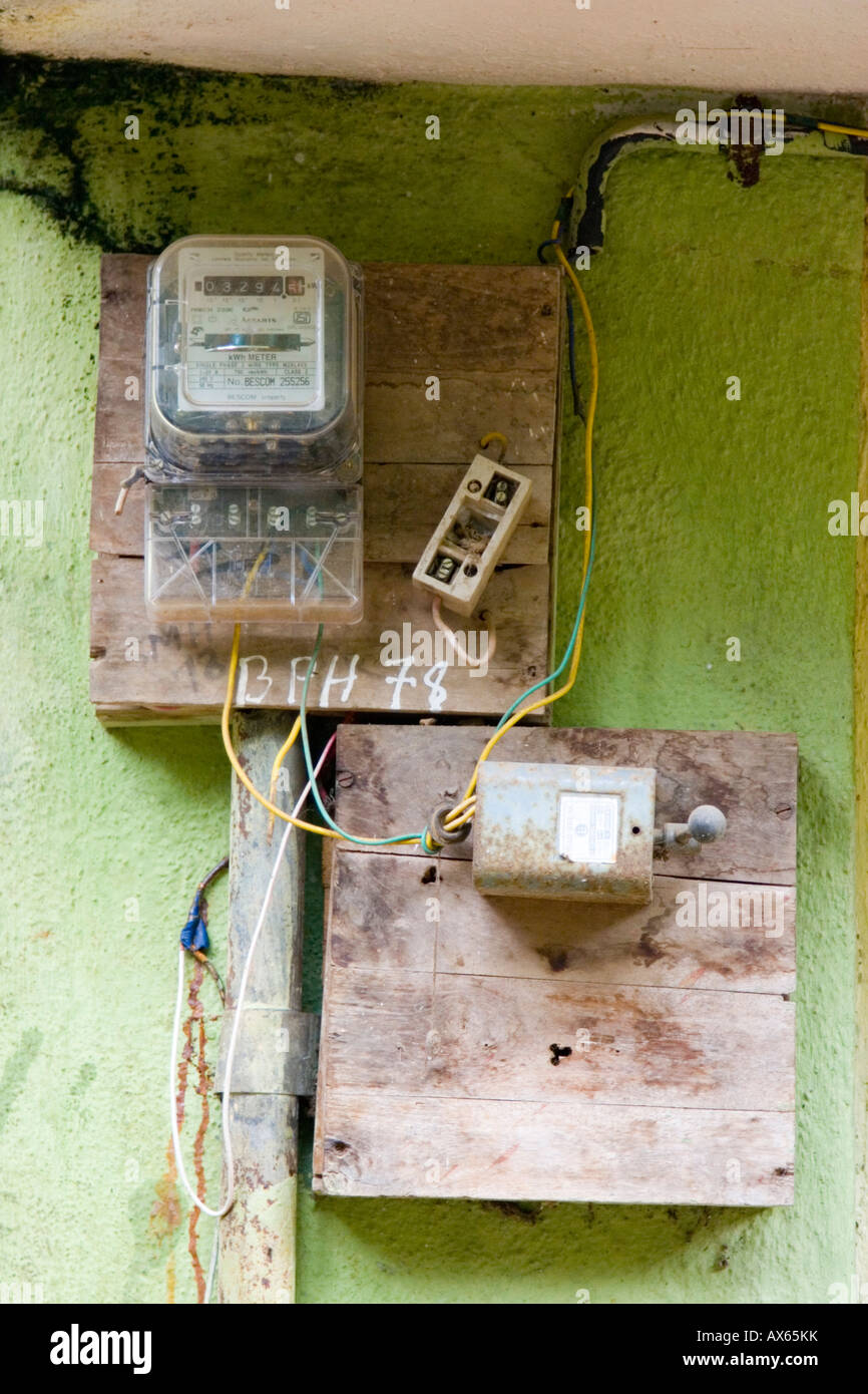 Dangerous looking electrical wiring junction box on wall of Indian ...