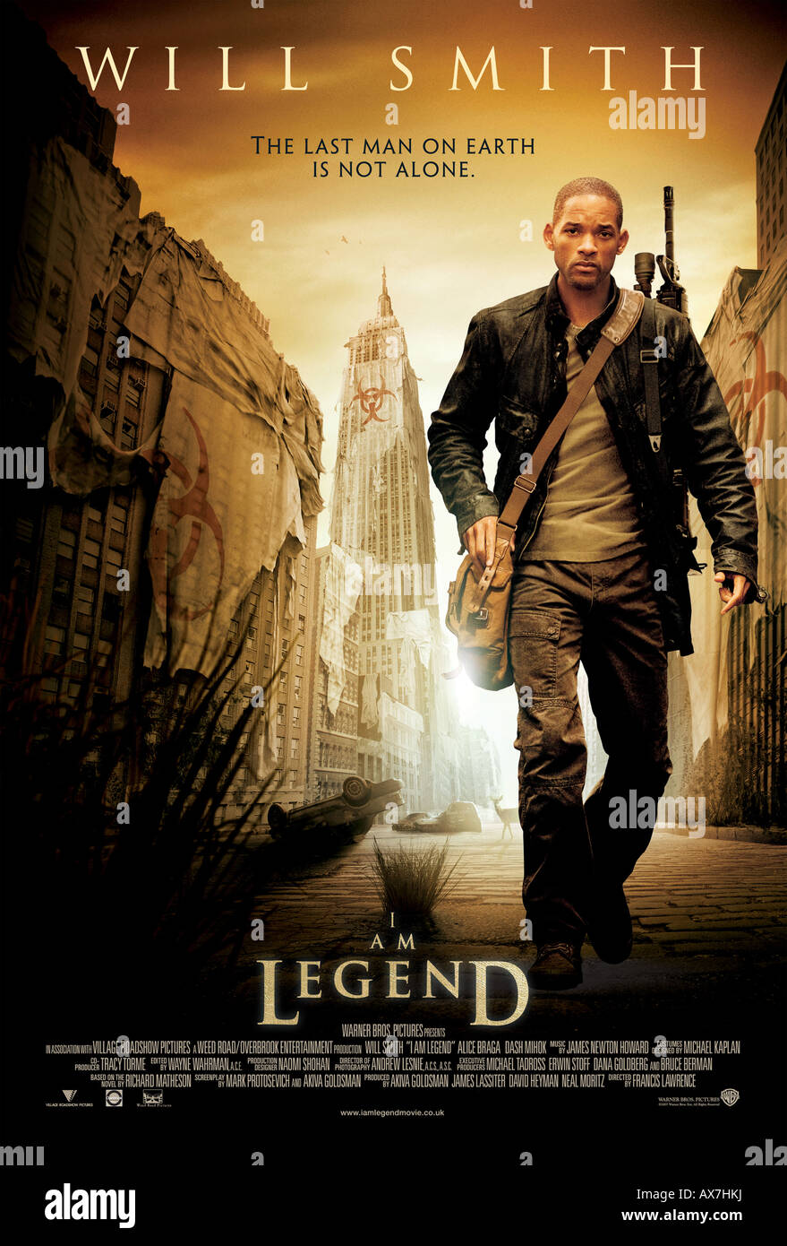 I AM LEGEND - poster for 2007 Warner Bros film with Will Smith - Stock Image