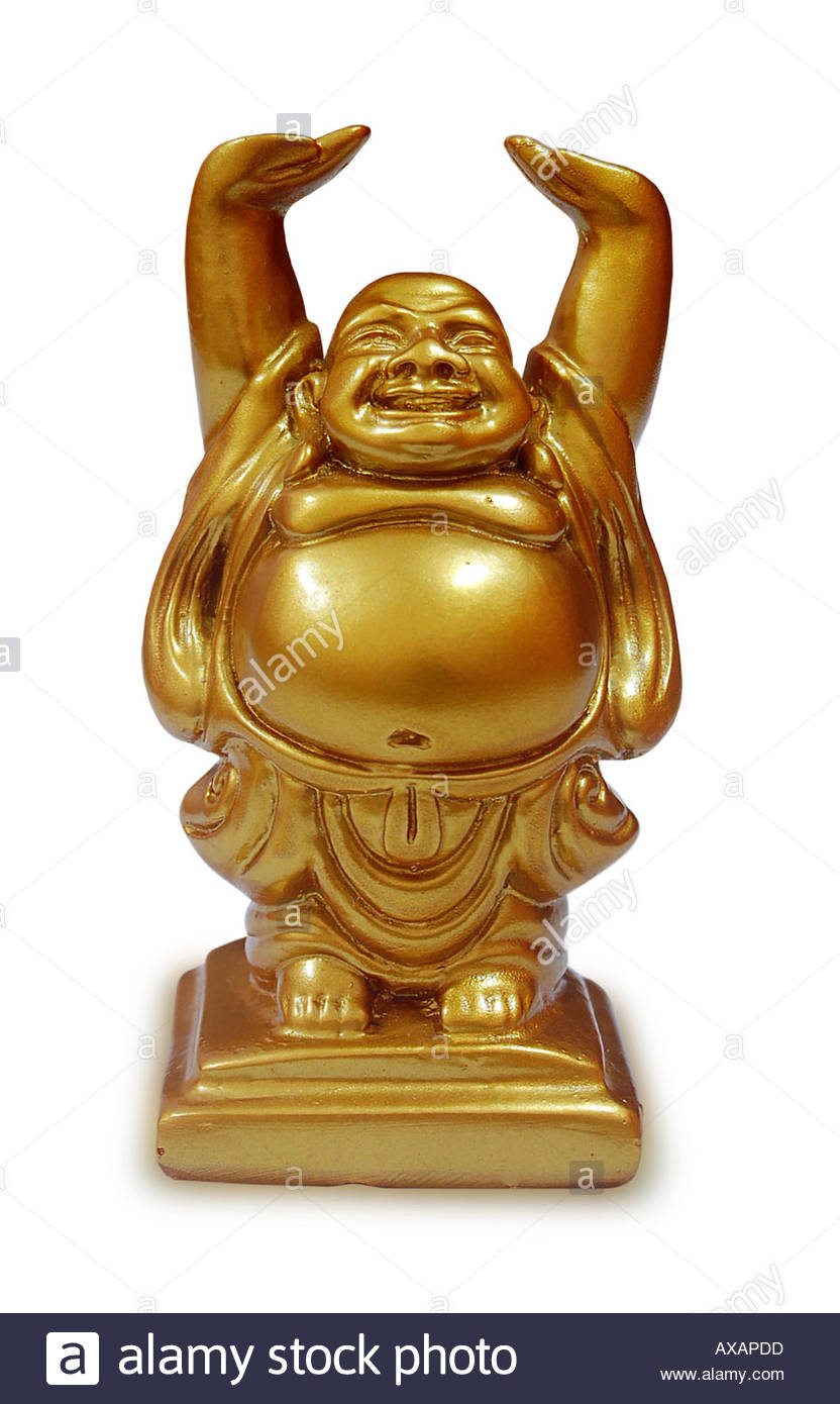 Laughing Buddha Golden Colour Statue Standing Hand Raised Happy