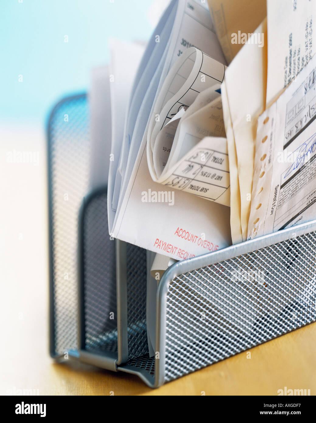 desk finance bills home office payment due debt organized paperwork