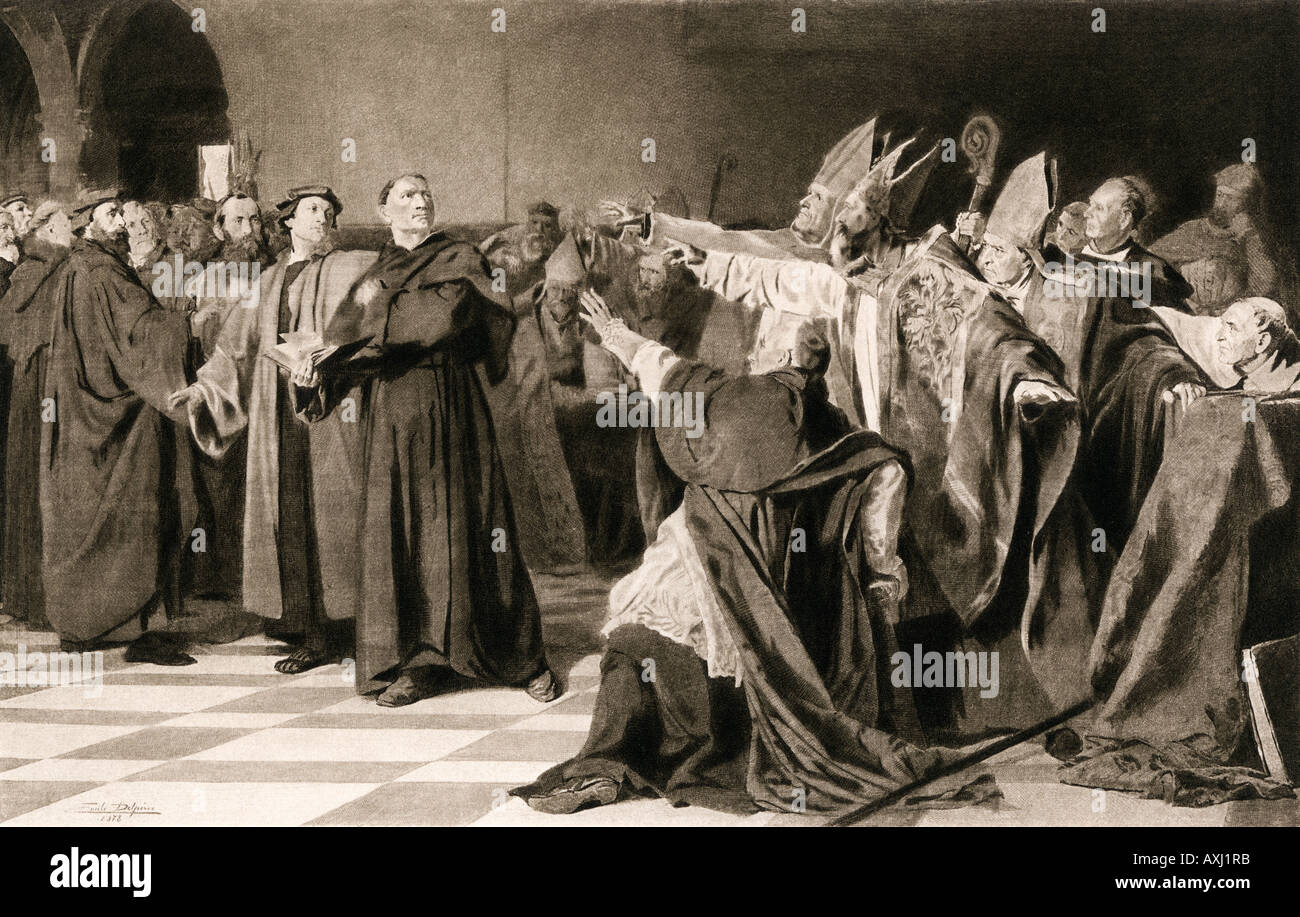 martin luther defending himself before the diet of worms 1521 stock