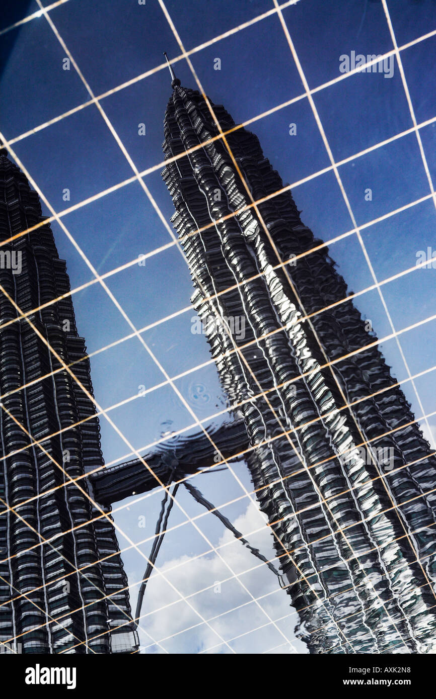business working new city skyscraper building windowns office lines angles round drive down modern water ripple - Stock Image