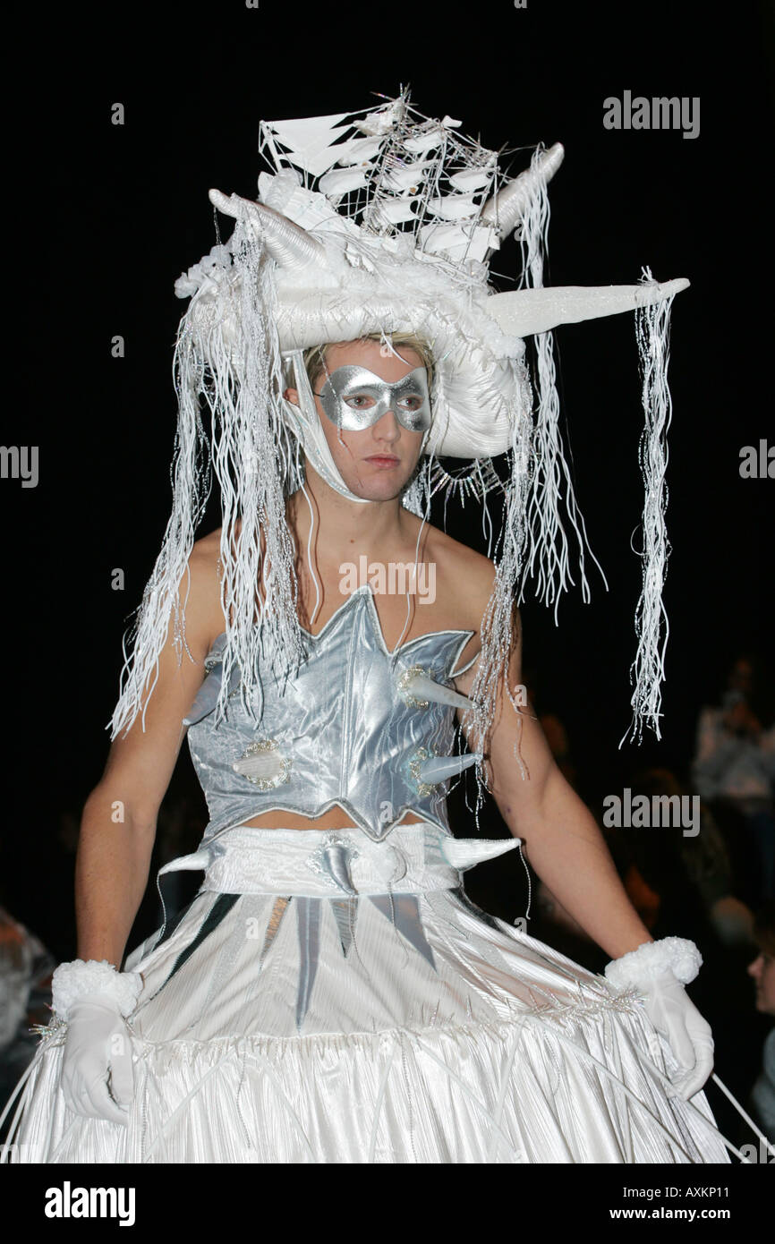 Model wearing outfit with ship headdress at the Clothes Show NEC Birmingham December 2005 Stock Photo