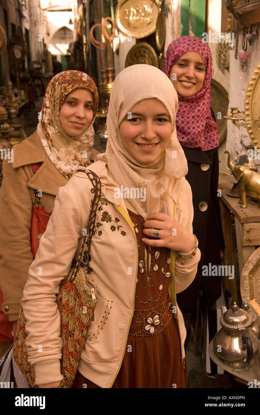 Three young Libyan women in the copper souq of the old ... Libyan Women