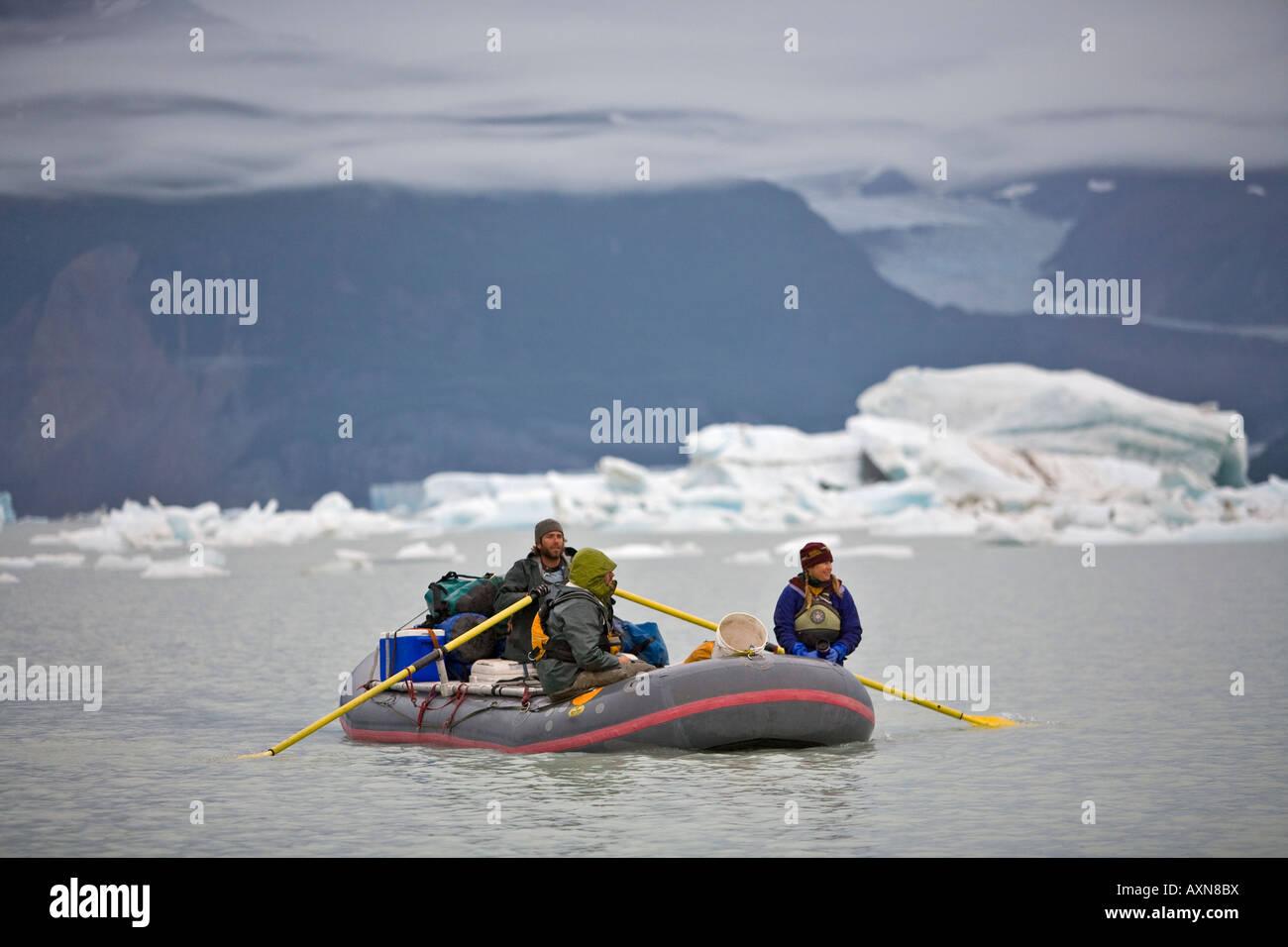 rafters on the Alsek river, Alaska, United States Stock Photo