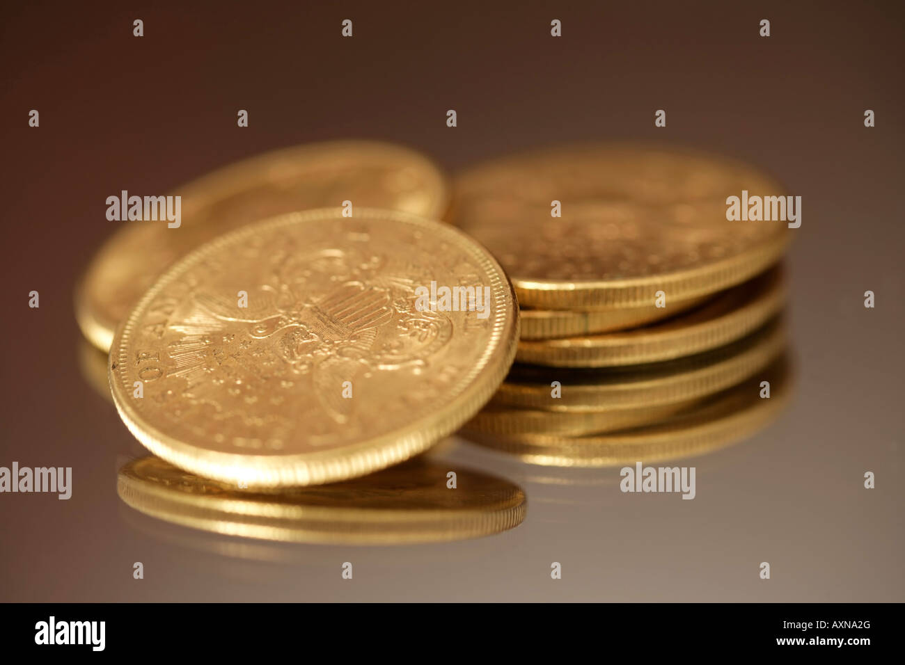 American 25 Dollar Gold Coins Close Up Stock Photo 16884471