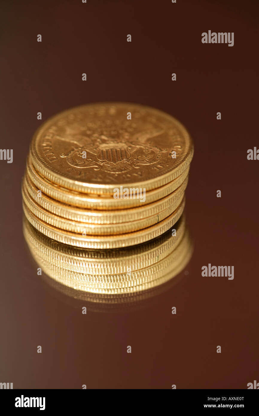 American 25 Dollar Gold Coins Close Up Stock Photo 16885799
