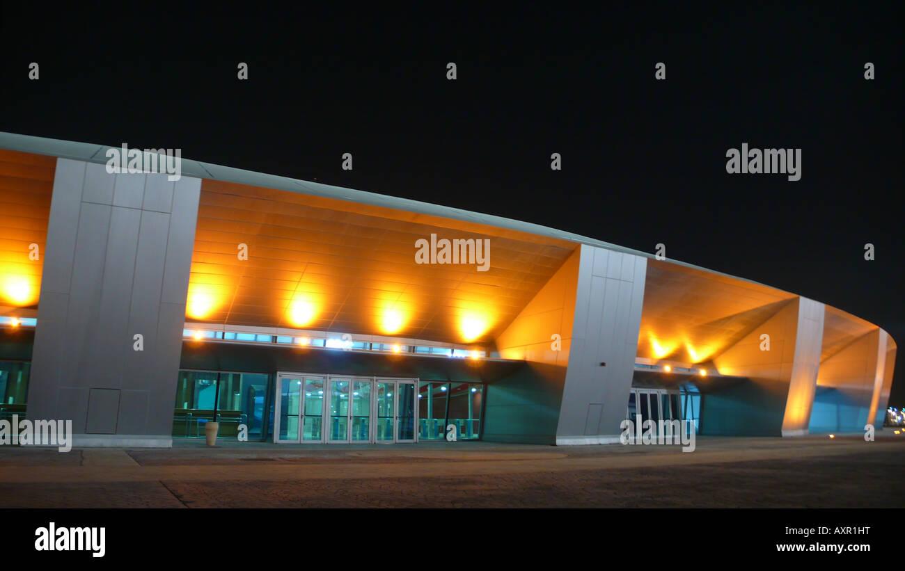 Aspire sports dome, Doha, Qatar, at night - Stock Image