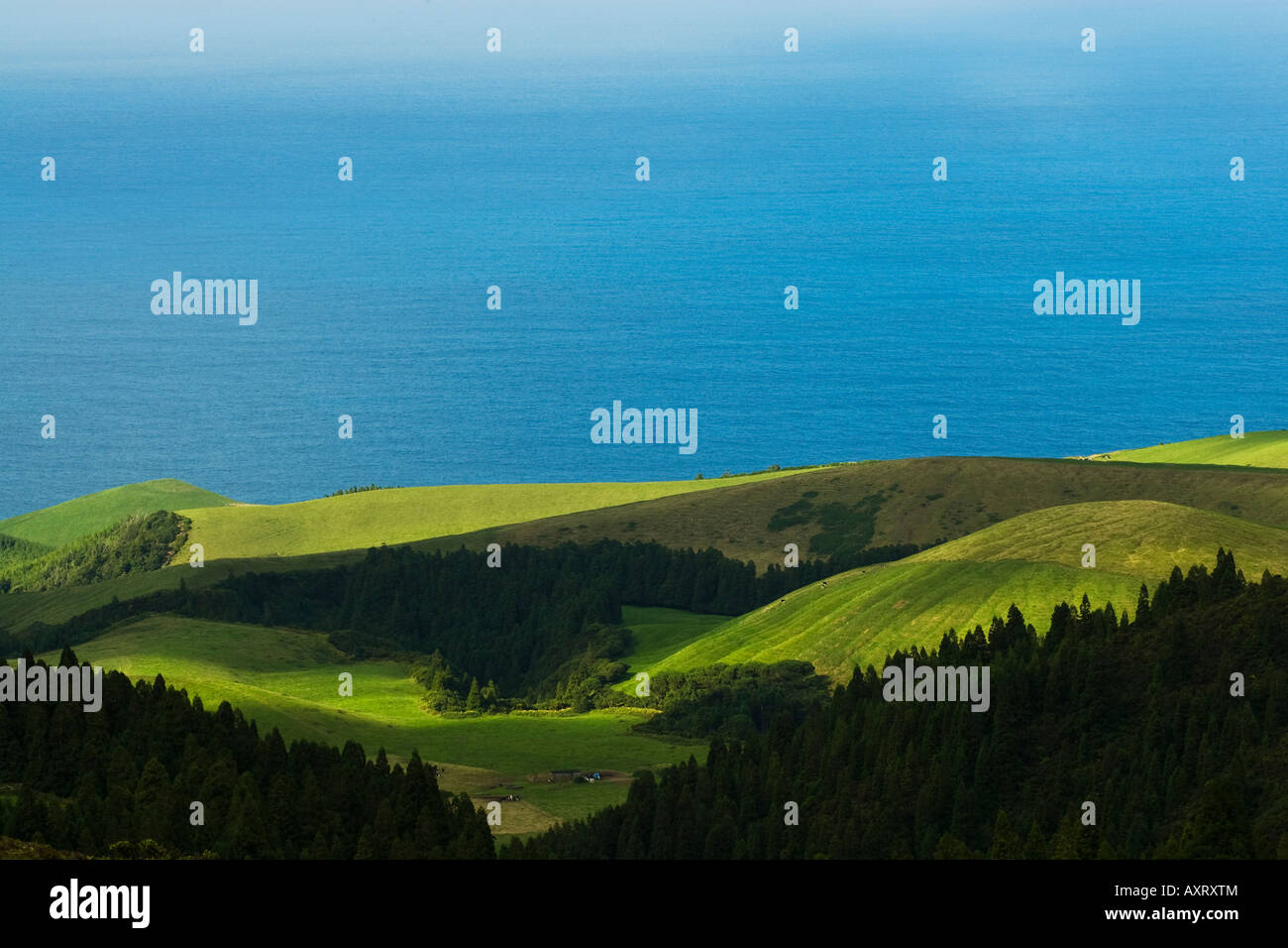 view looking out to the atlantic ocean across the fertile farm land of the Azores - Stock Image