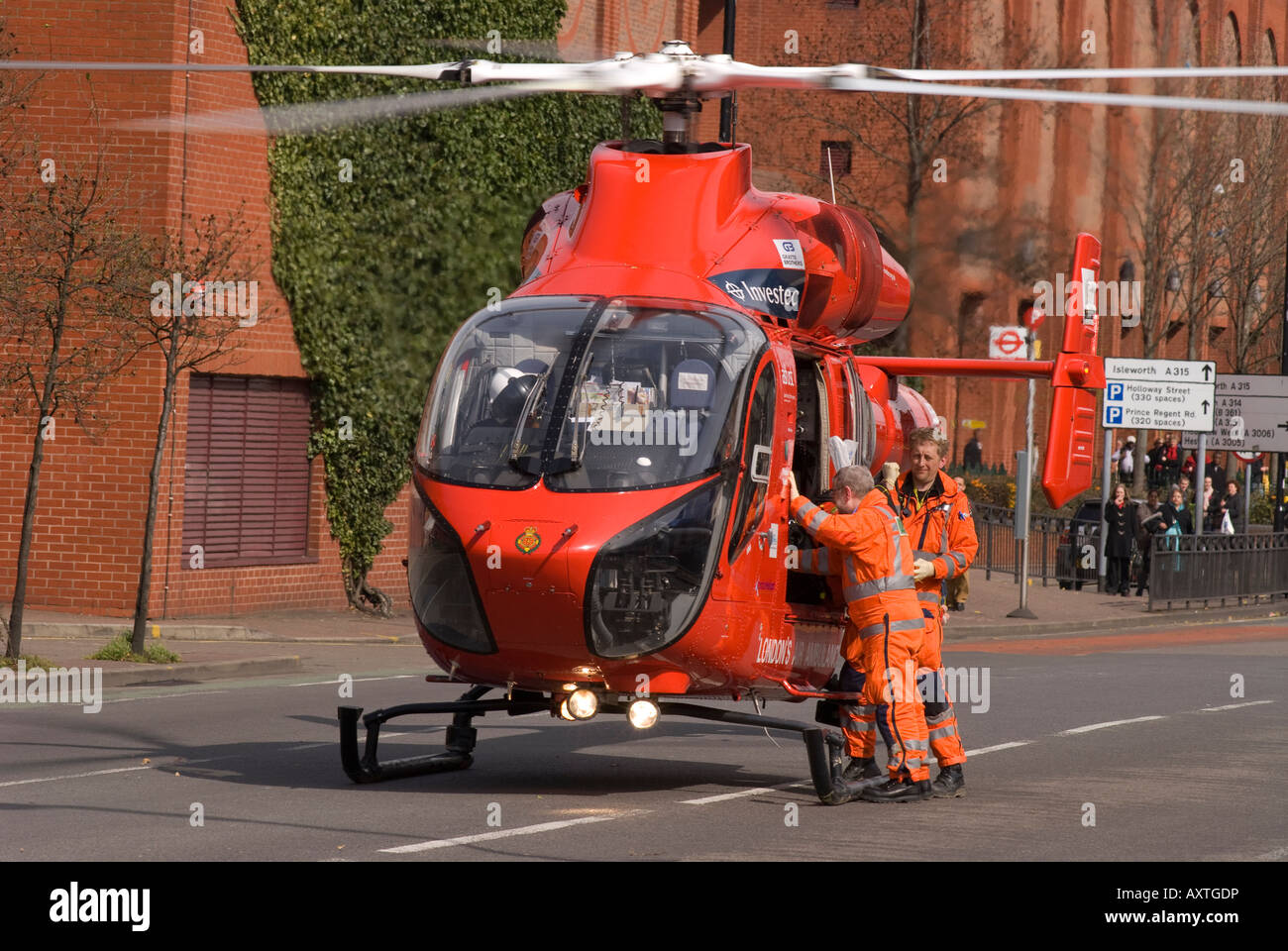 Air Ambulance on the scene at a road traffic accident Hounslow Middlesex Sunday 30th March 2008 - Stock Image
